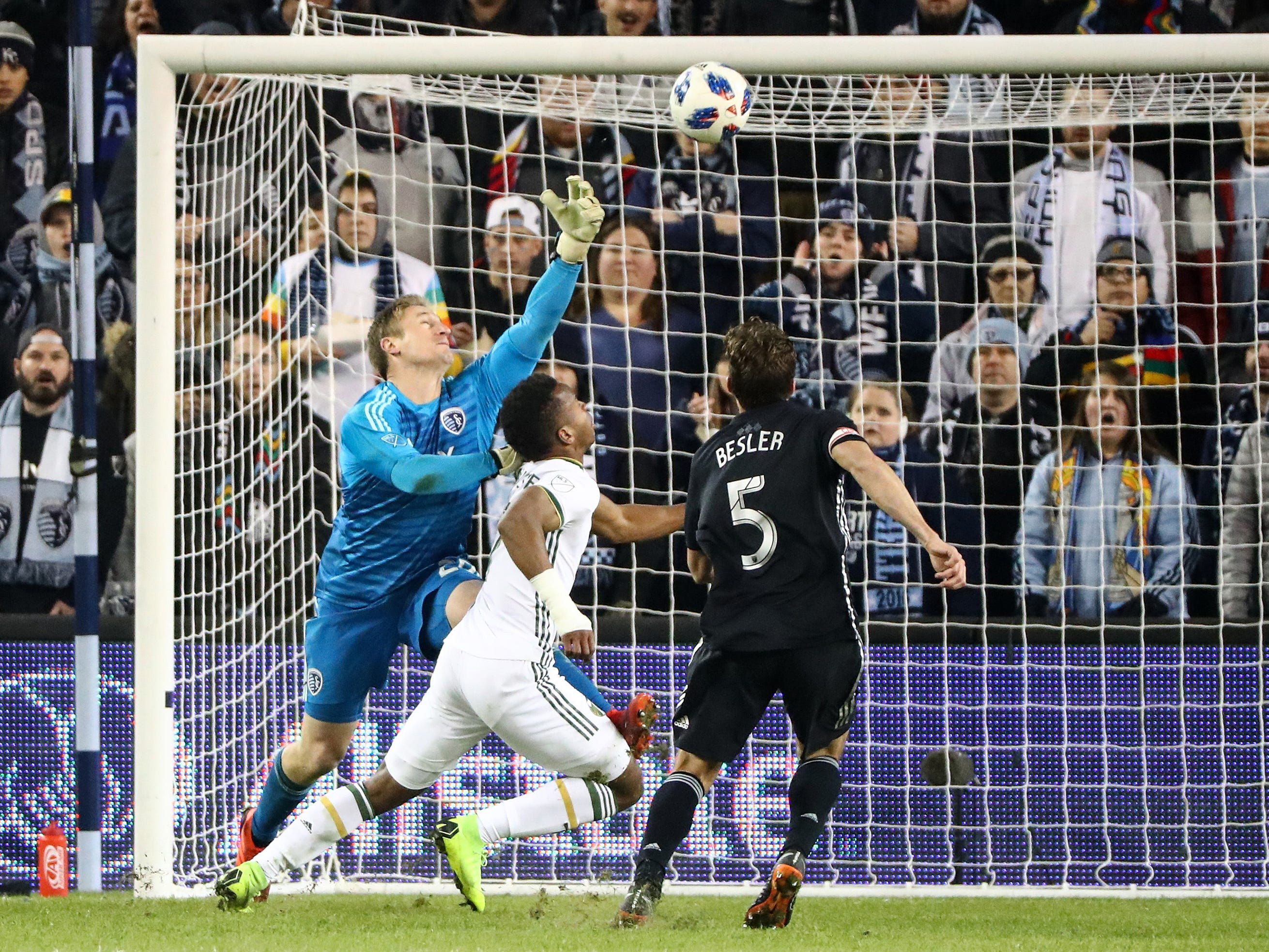 Sporting Kansas City goalkeeper Tim Melia is unable to stop a pass from Portland Timbers forward Jeremy Ebobisse during the second half in the second leg of the MLS Western Conference Championship at Children's Mercy Park.