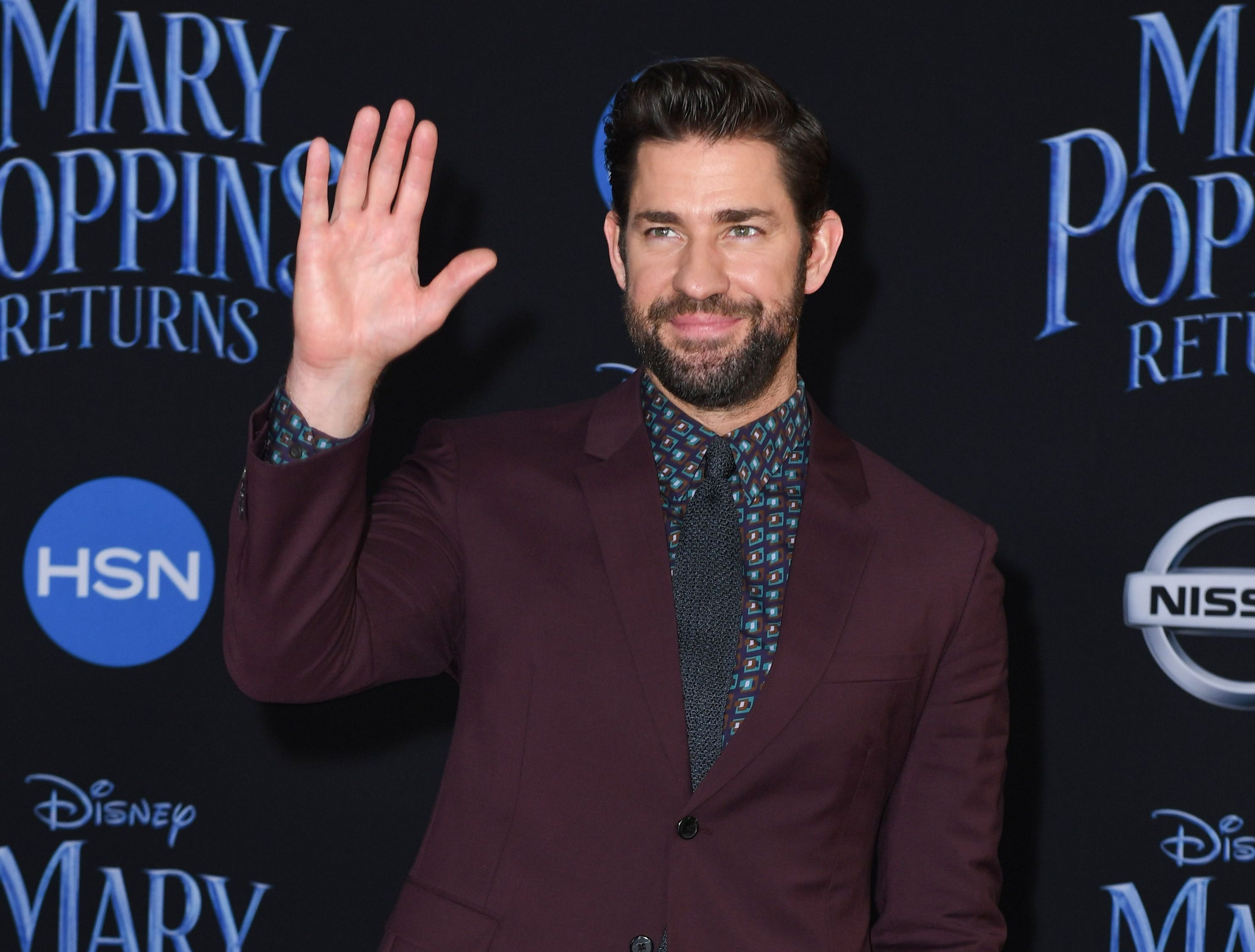 """US actor John Krasinski arrives for the world premiere of Disney's """"Mary Poppins Returns"""" at the Dolby theatre in Hollywood on November 29, 2018. (Photo by VALERIE MACON / AFP)VALERIE MACON/AFP/Getty Images ORG XMIT: 'Mary Pop ORIG FILE ID: AFP_1B81EH"""