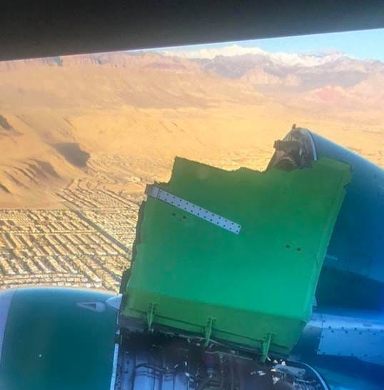 Part of an engine cover blew off a Frontier Airlines plane during takeoff from Las Vegas on Friday, Nov. 30. The plane, which was headed to Tampa Bay, Florida, returned to McCarran International Airport and landed safely.