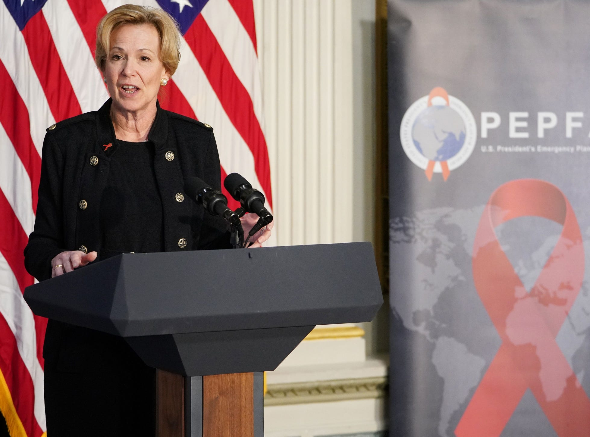 US Global AIDS Coordinator Deborah Birx speaks during a White House World AIDS Day Event in the Indian Treaty Room of the  Eisenhower Executive Office Building next to the White House in Washington, DC on Thursday.