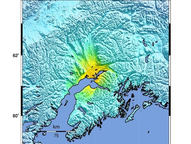 A handout photo made available by the United States Geological Survey of a USGS Shake Map showing the location of the earthquake that has hit about eight miles north of Alaska's largest city of Anchorage, Alaska on Nov. 30, 2018.