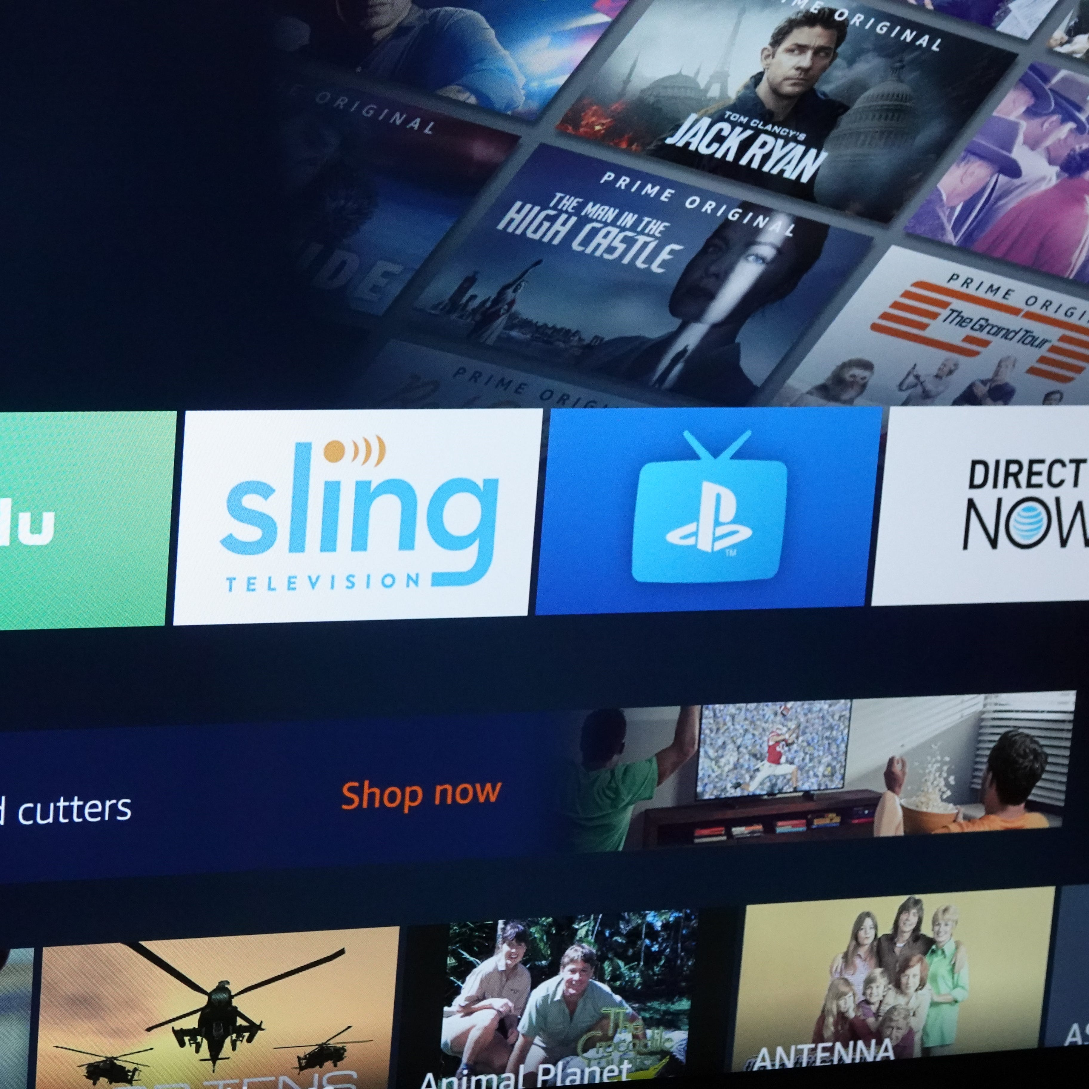 Hulu, Sling, PlayStation Vue and DirecTV Now logos.