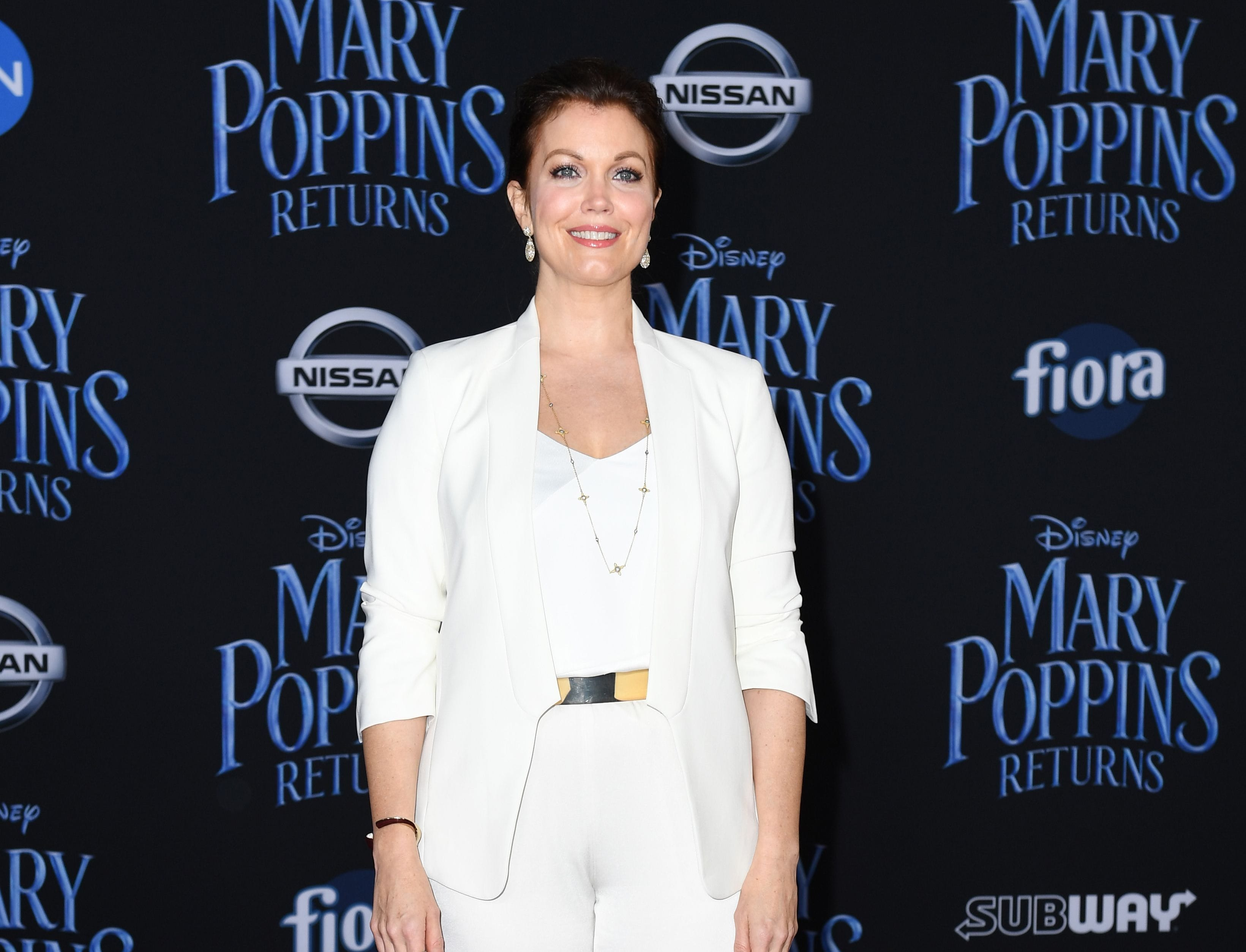 """US actress Bellamy Young arrives for the world premiere of Disney's """"Mary Poppins Returns"""" at the Dolby theatre in Hollywood on November 29, 2018. (Photo by VALERIE MACON / AFP)VALERIE MACON/AFP/Getty Images ORG XMIT: 'Mary Pop ORIG FILE ID: AFP_1B80Z5"""
