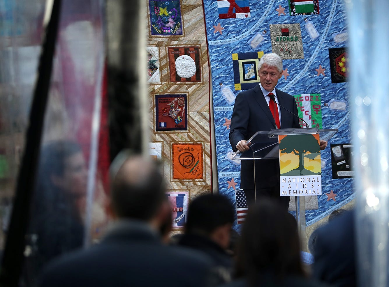 Former U.S. president Bill Clinton delivers the keynote address during the World AIDS Day in San Francisco.