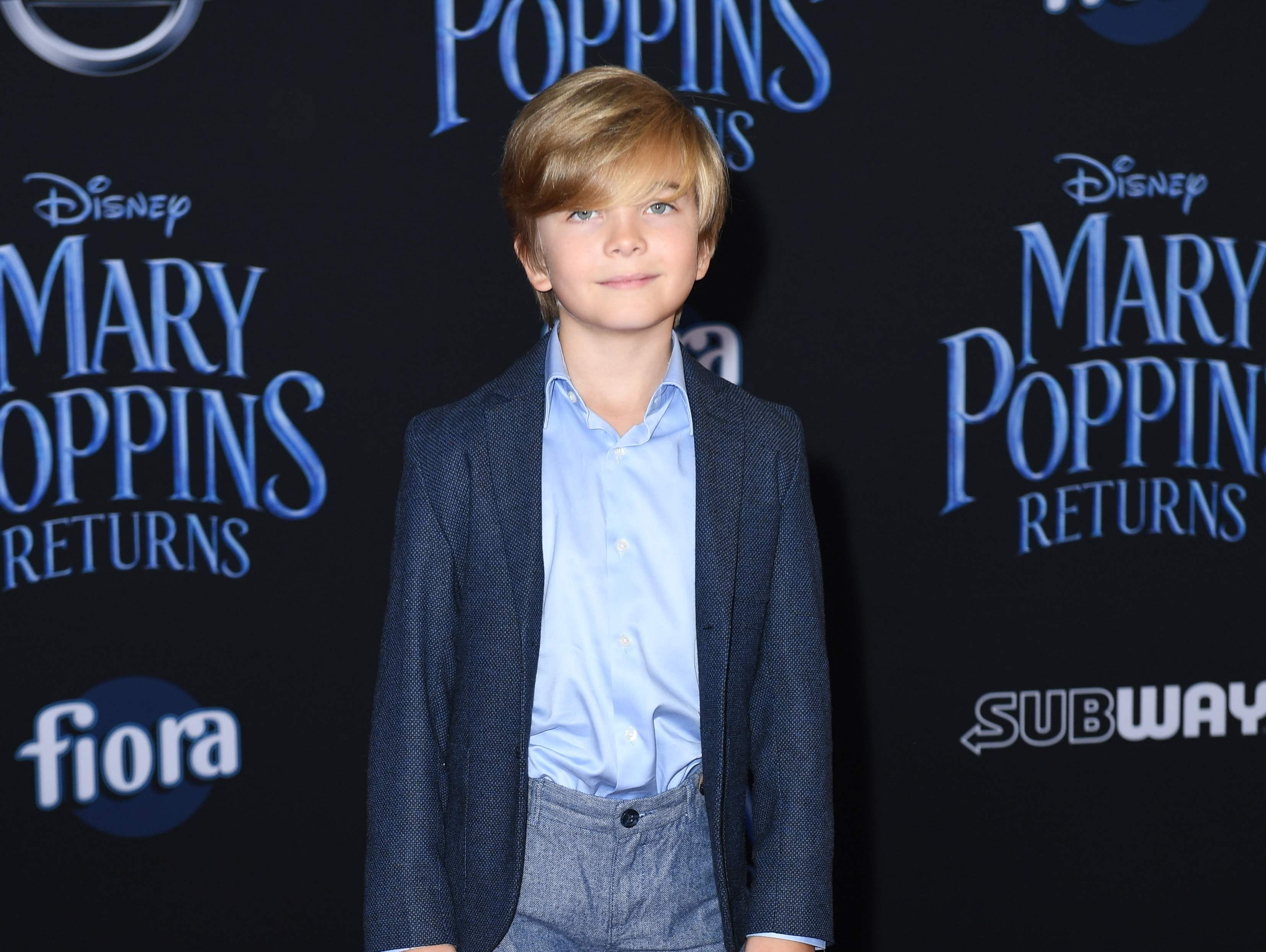 """US actor Joel Dawson arrives for the world premiere of Disney's """"Mary Poppins Returns"""" at the Dolby theatre in Hollywood on November 29, 2018. (Photo by VALERIE MACON / AFP)VALERIE MACON/AFP/Getty Images ORG XMIT: 'Mary Pop ORIG FILE ID: AFP_1B810T"""