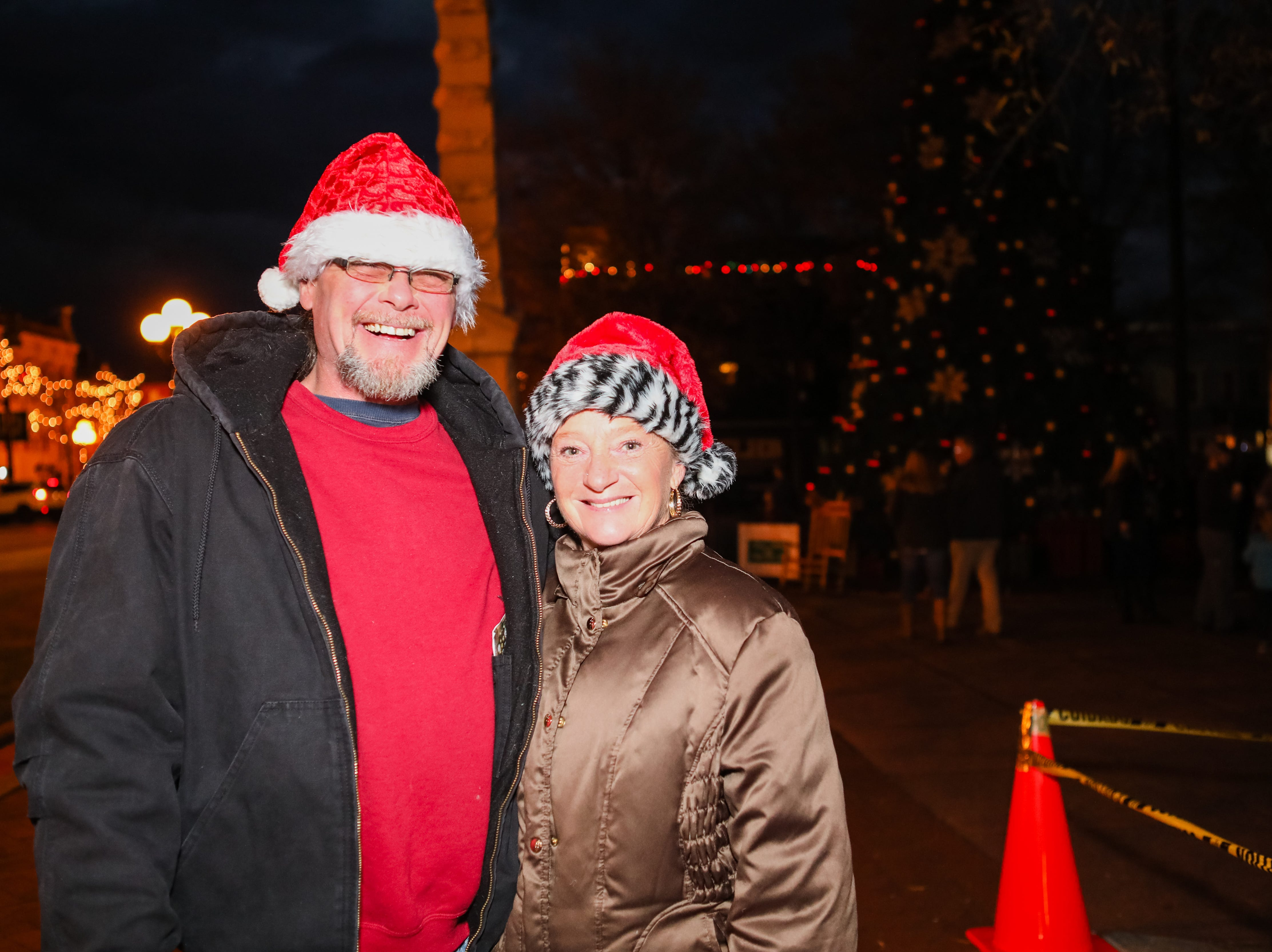 Mike and Patty Sowalsky are all dressed up for the Piedmont Natural Gas Holiday Walk and Christmas Tree Lighting in downtown Anderson