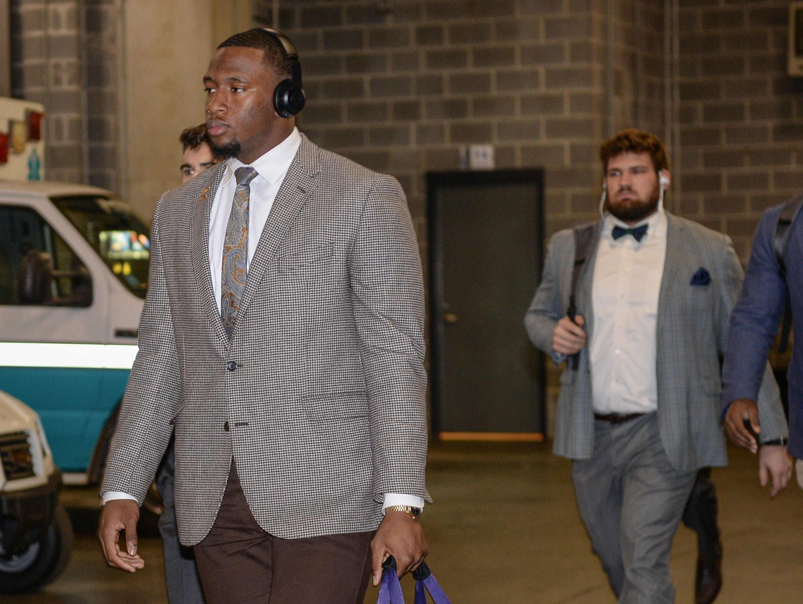 Clemson defensive lineman Clelin Ferrell (99) arrives before the game with Pittsburgh at the Dr. Pepper ACC football championship at Bank of America Stadium in Charlotte, N.C. on Saturday, December 1, 2018.