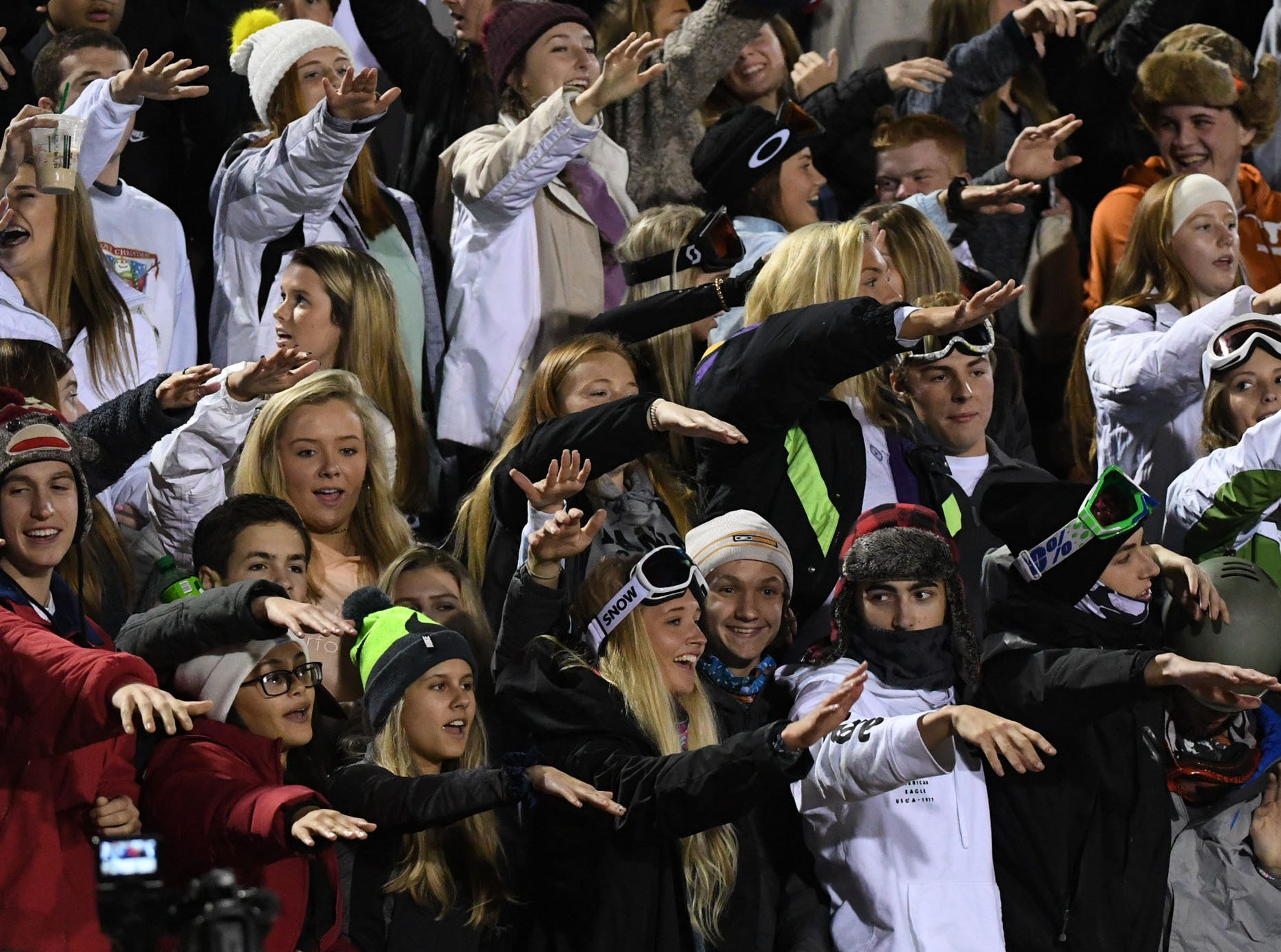 TL Hanna High School fans before the kickoff of the Class AAAAA state playoffs at TL Hanna High School in Anderson on Friday, November 30, 2018.