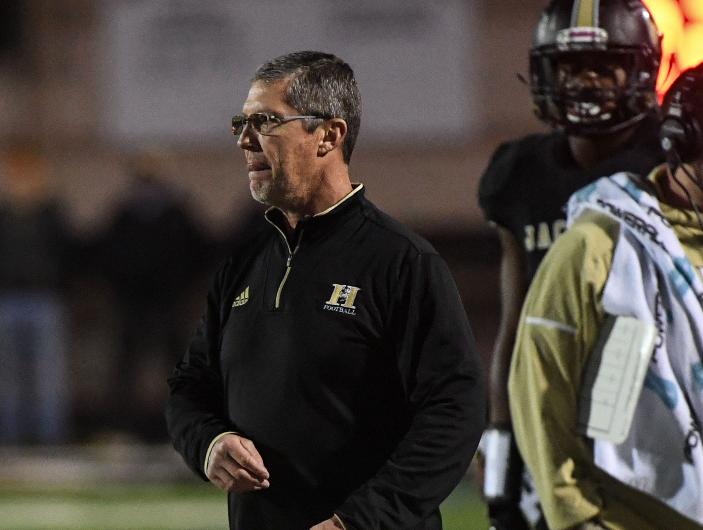 TL Hanna head coach Jeff Herron during the first quarter of the Class AAAAA state playoffs at TL Hanna High School in Anderson on Friday, November 30, 2018.