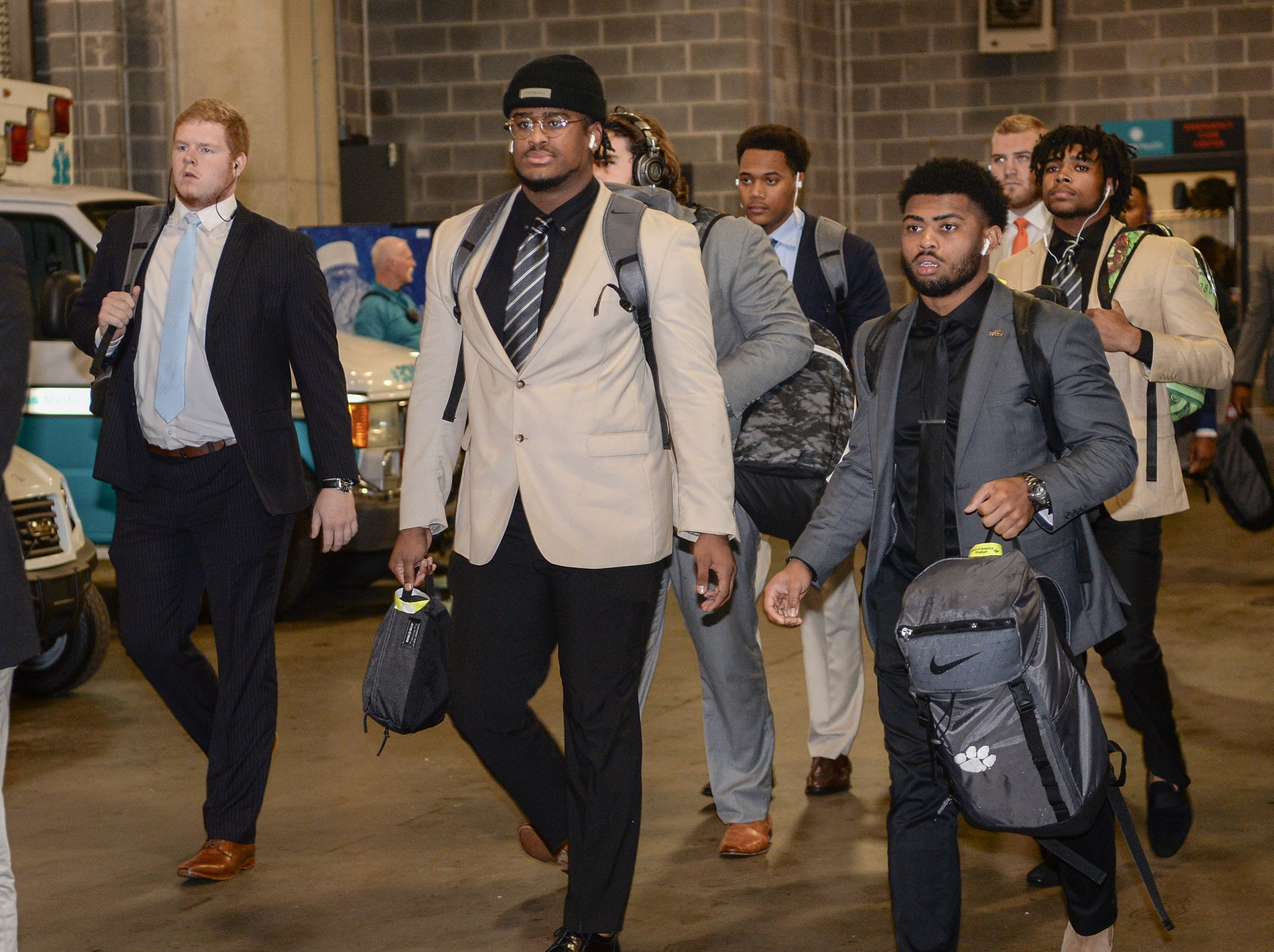 Clemson players arrive before the game with Pittsburgh at the Dr. Pepper ACC football championship at Bank of America Stadium in Charlotte, N.C. on Saturday, December 1, 2018.