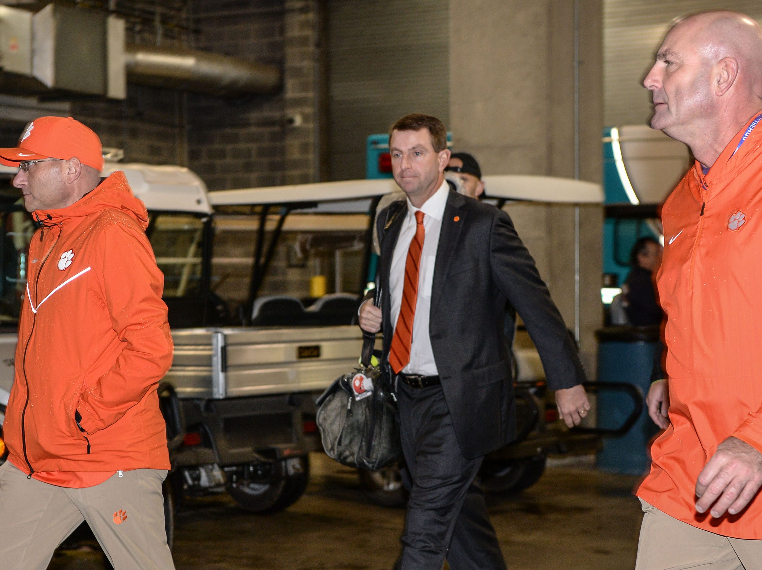 Clemson Head Coach Dabo Swinney arrives before the game with Pittsburgh at the Dr. Pepper ACC football championship at Bank of America Stadium in Charlotte, N.C. on Saturday, December 1, 2018.