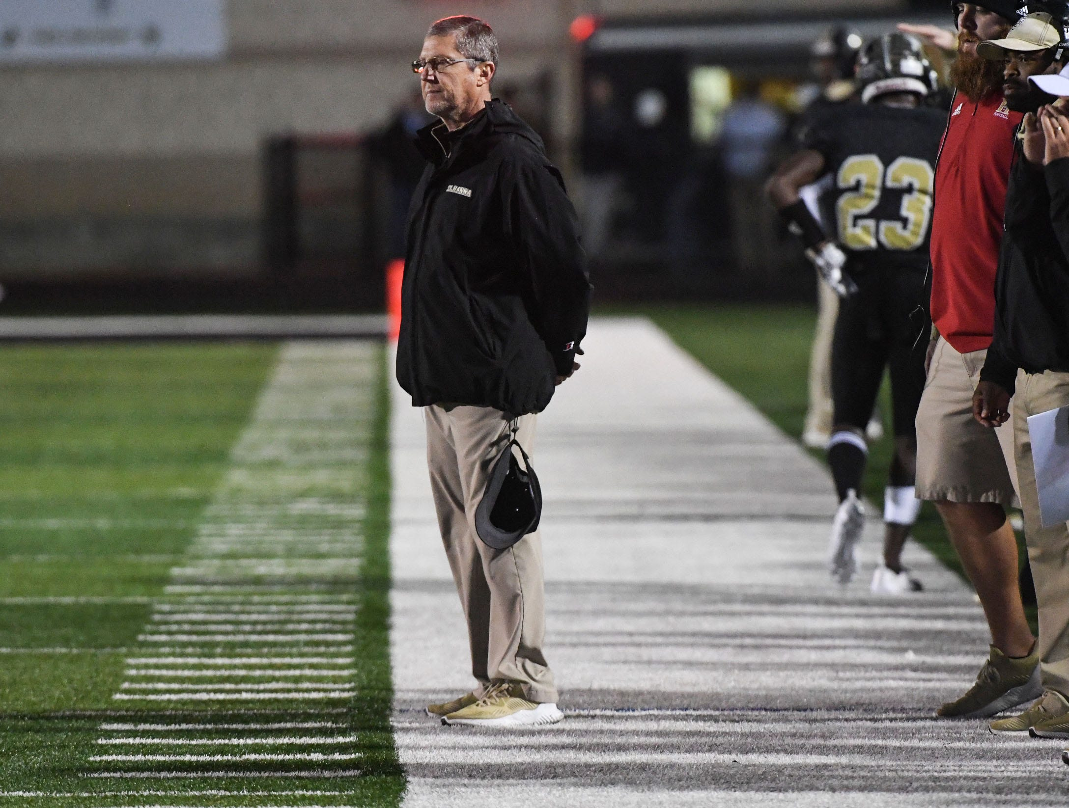 TL Hanna head coach Jeff Herron during the fourth quarter of the Class AAAAA state playoffs at TL Hanna High School in Anderson on Friday, November 30, 2018.