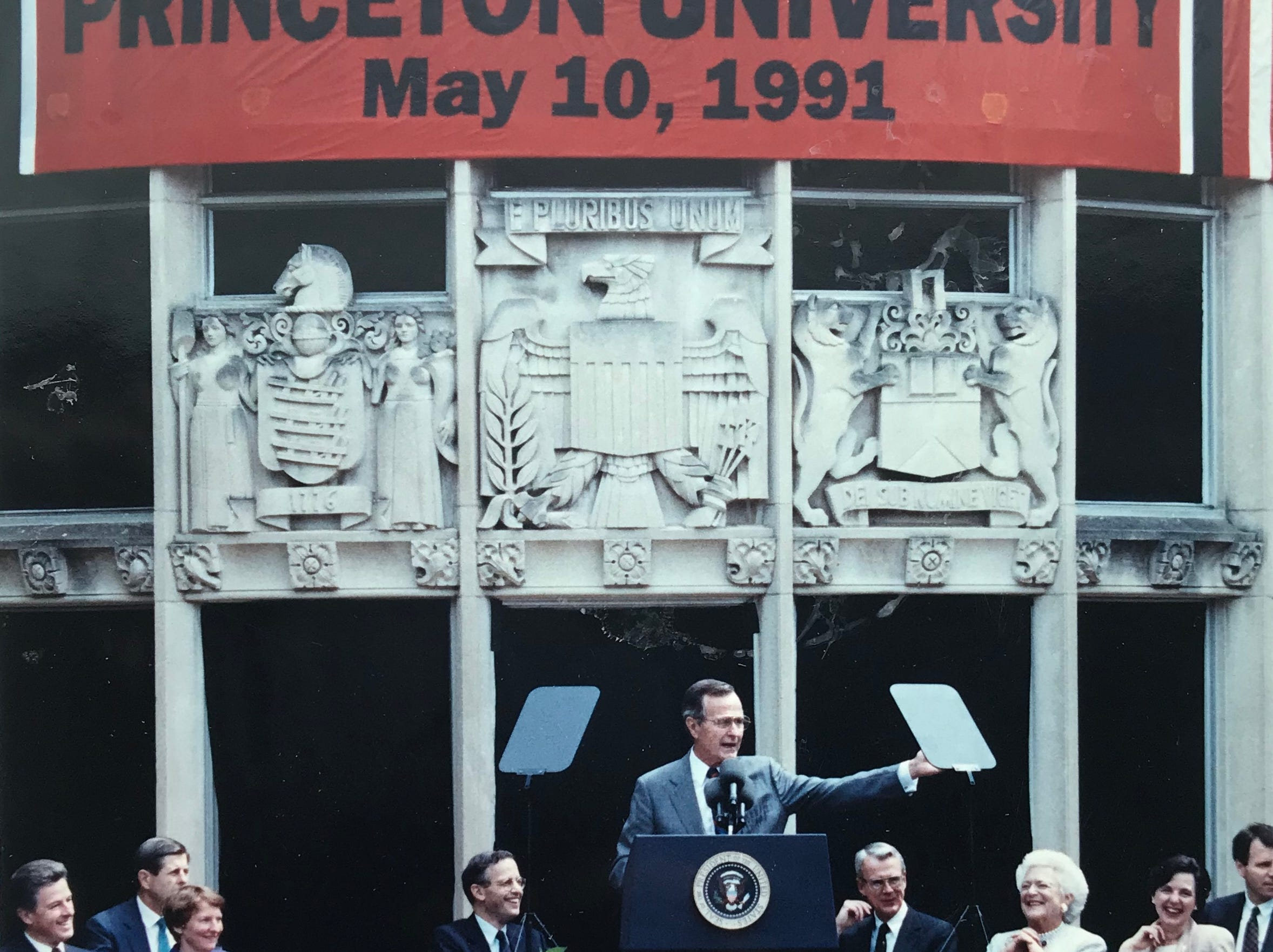 President George H.W. Bush at the podium during dedication ceremonies of Princeton University's Social Sciences Complex on May 10, 1991.