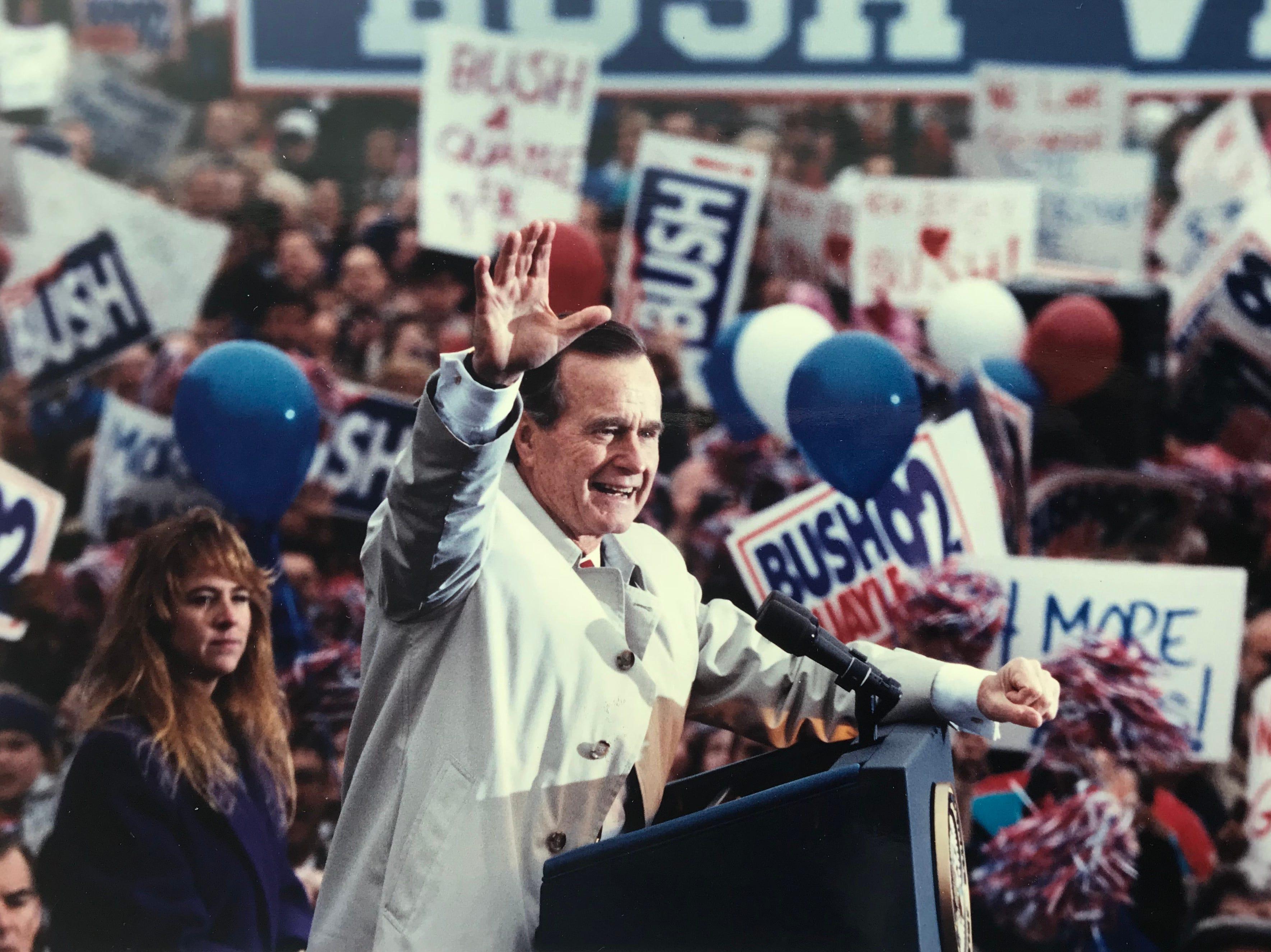 President Bush during a morning rally outside Madison (NJ) Town Hall on Nov. 2, 1992.