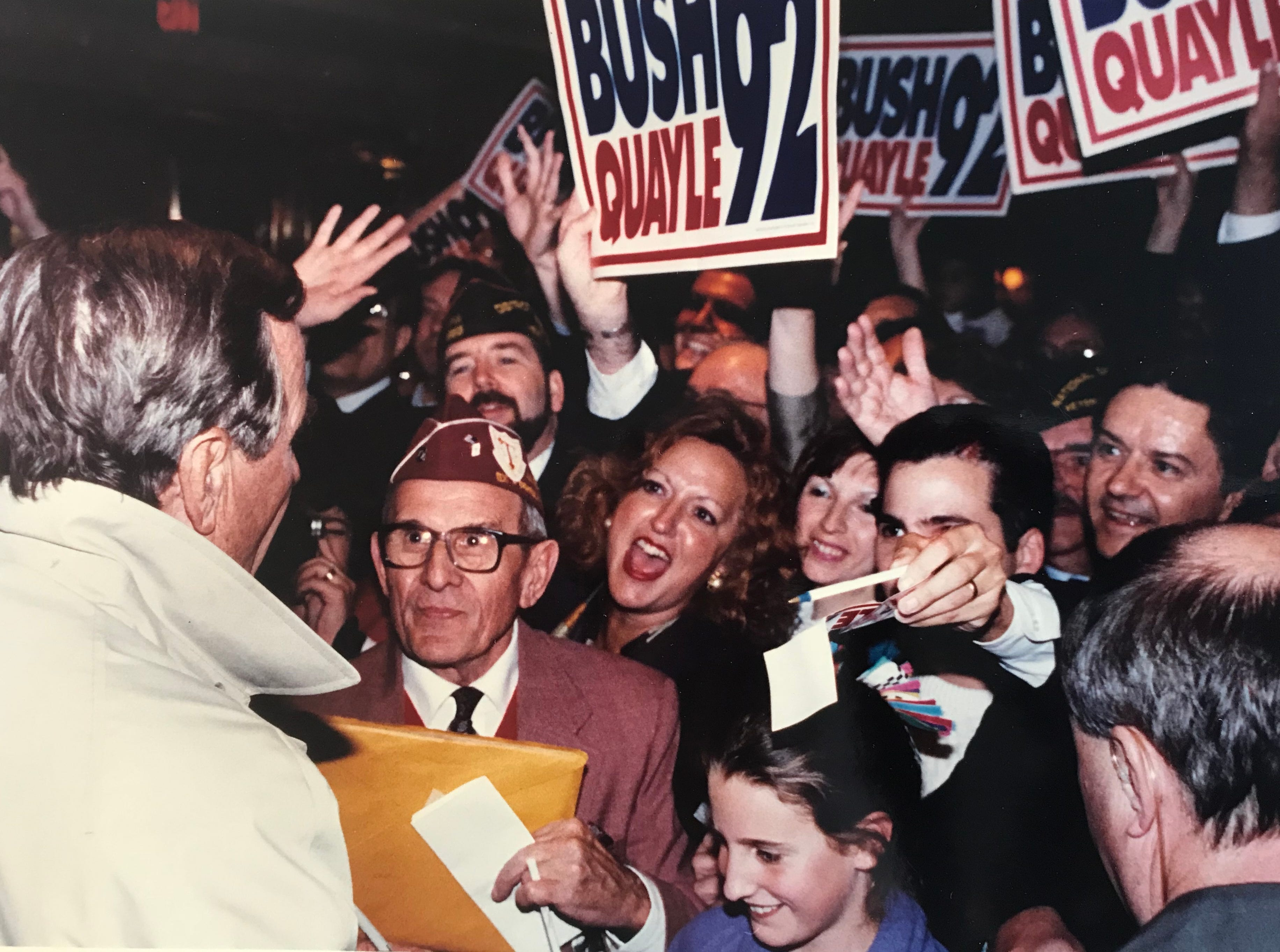President George H.W. Bush at a Hilton hotel where he stayed before speaking in Madison, New Jersey. Nov. 1, 1992.