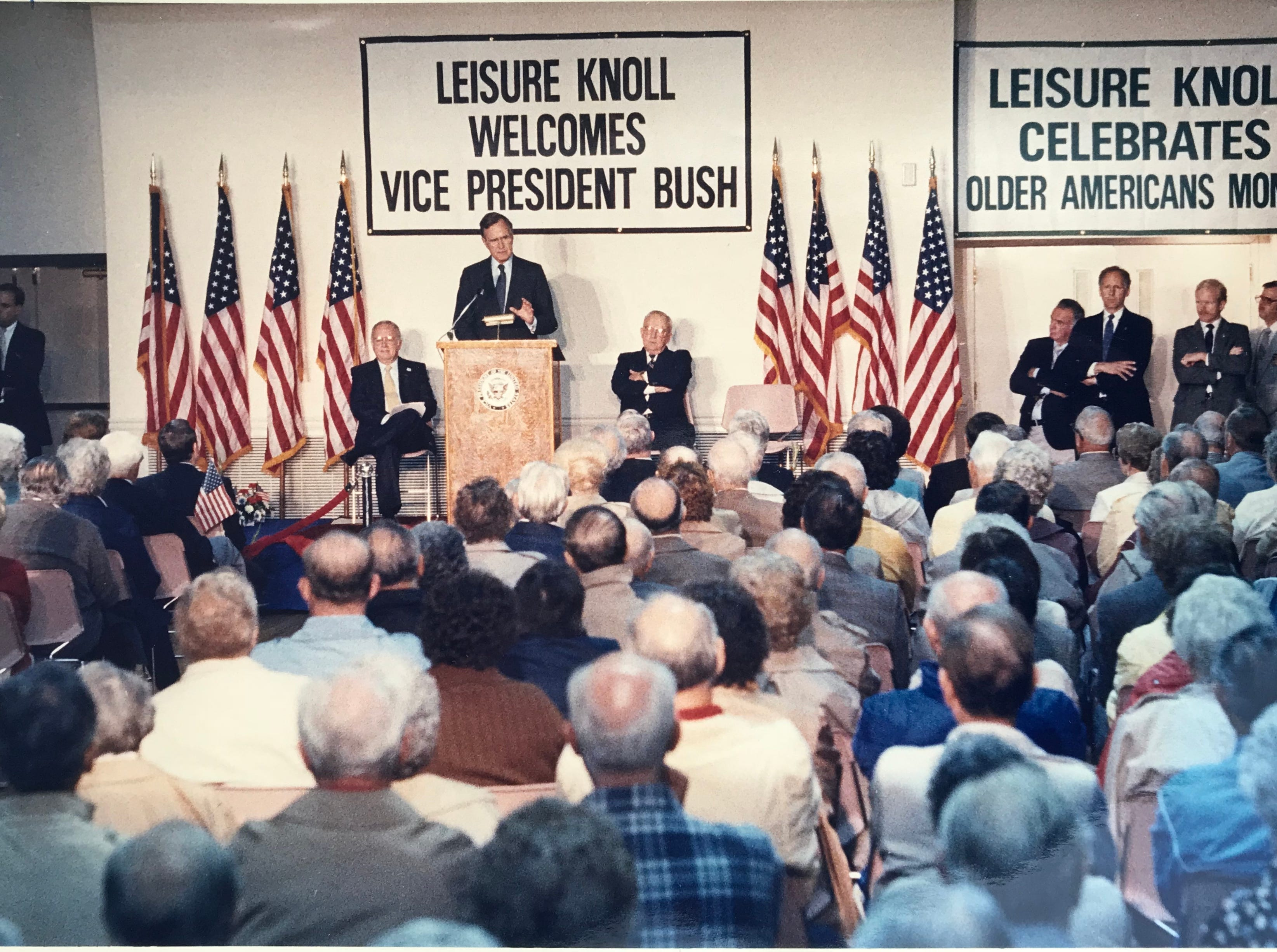 Vice President George H.W. Bush delivers his remarks to senior citizens gathered at Leisure Knoll in Manchester Township on may 25, 1988.