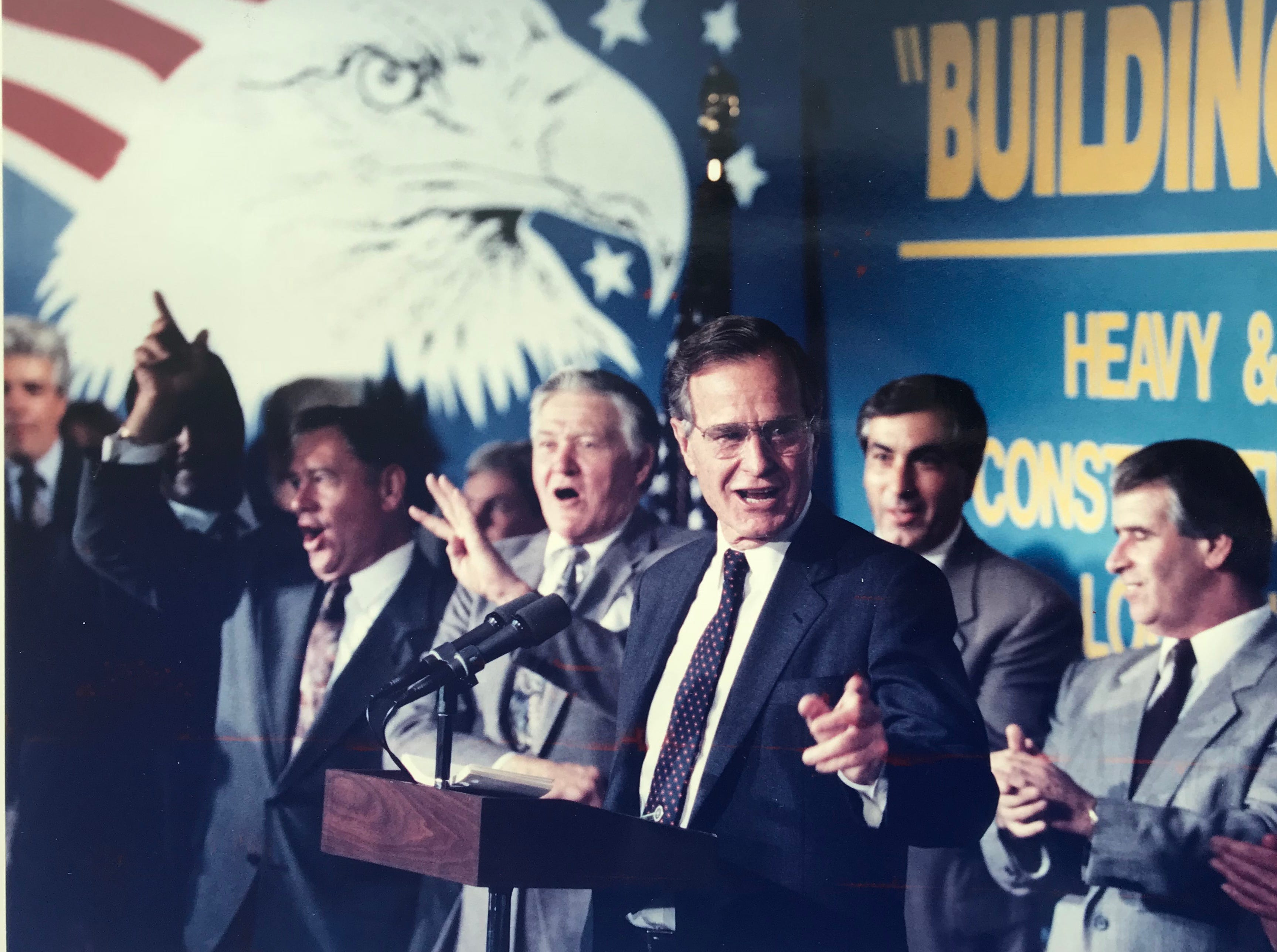 President George H.W. Bush speaks to the Local 472 union in Newark on Sept. 30, 1992.
