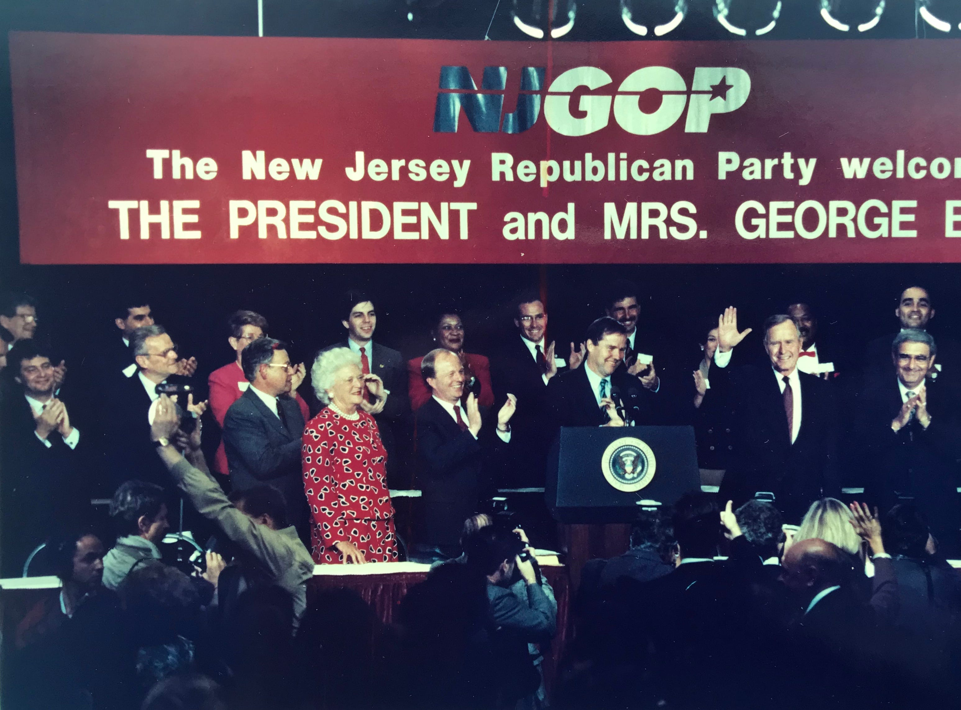 President George Bush waves to the GOP dinner crowd gathered in East Brunswick for a fundraiser on Sept. 24, 1991.