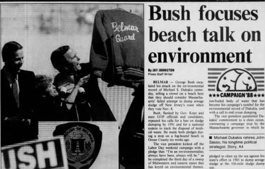 An Asbury Park Press issue from Sept. 3, 1988, featuring Vice President George H.W. Bush's trip to Belmar.