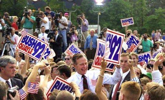 President George Bush greets supporters after speaking at the V.F.W. Post 2179 in Middletown on September 9, 1992.