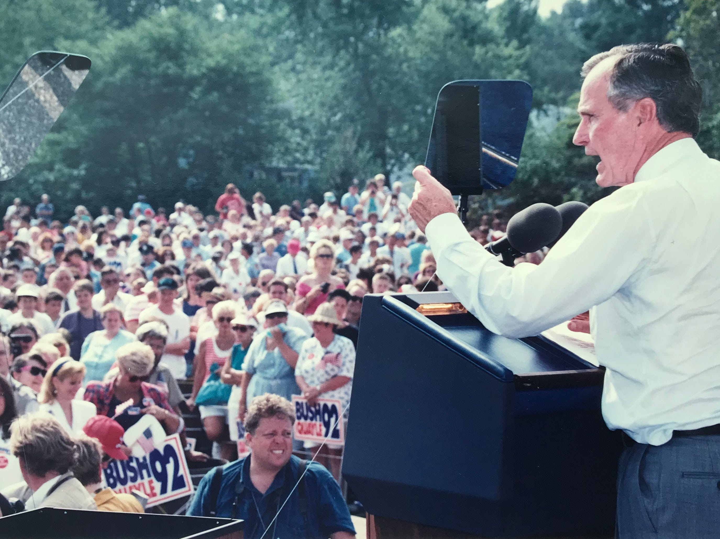 President George H.W. Bush speaks to a crowd gathered at the VFW in Middletown on Sept. 9, 1992.