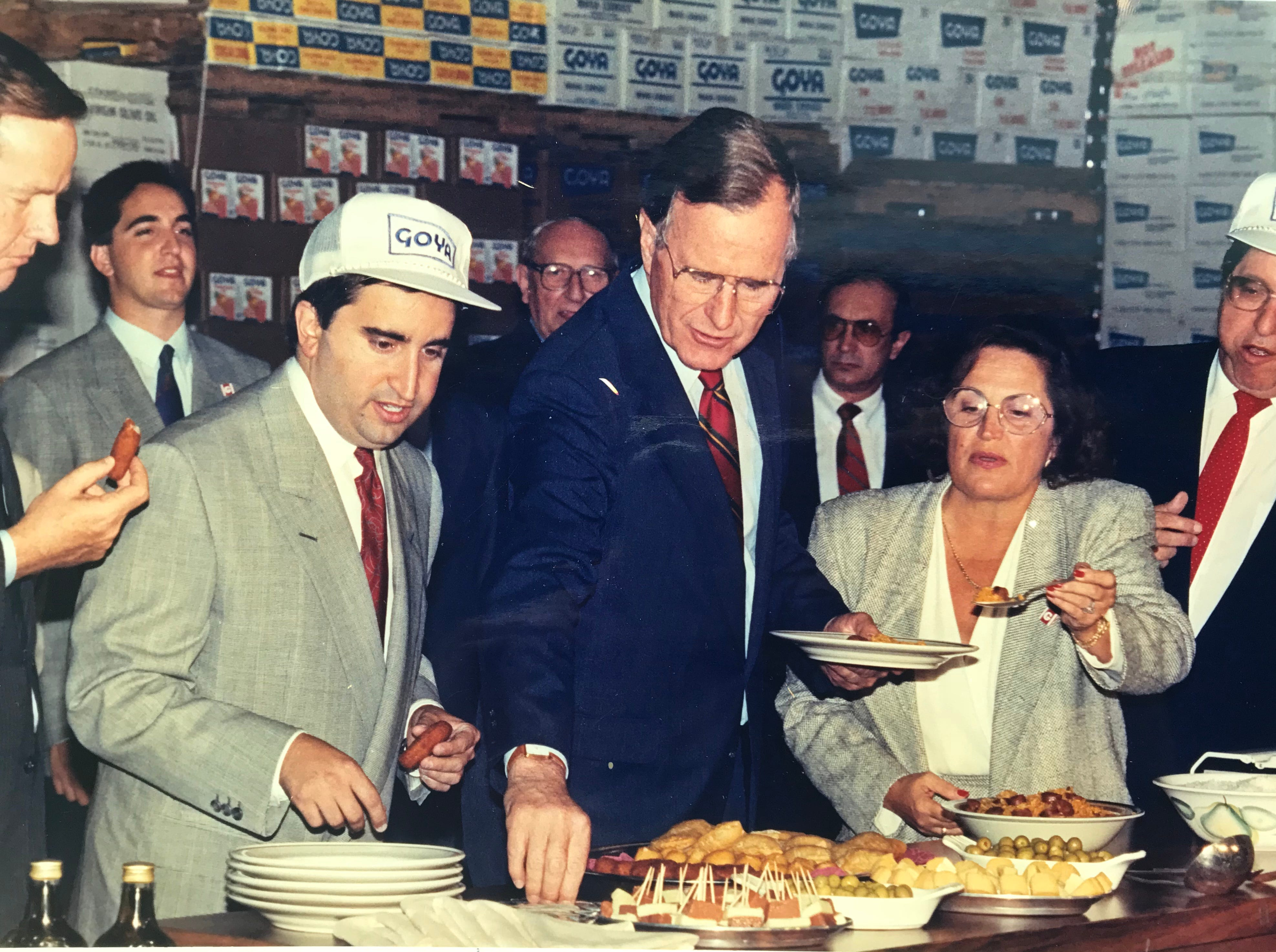 Vice President George Bush tries some Spanish foods at the Goya factory in Secaucus in this September 1988 photograph.