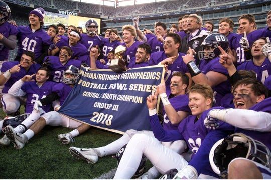 Rumson-Fair Haven's Ian O'Connor and Alex Maldjian celebrate the win. Rumson-Fair Haven defeats Woodrow Wilson in the NJSIAA South Group III Bowl Game at MetLife Stadium. East Rutherford, NJSaturday, December 1, 2018