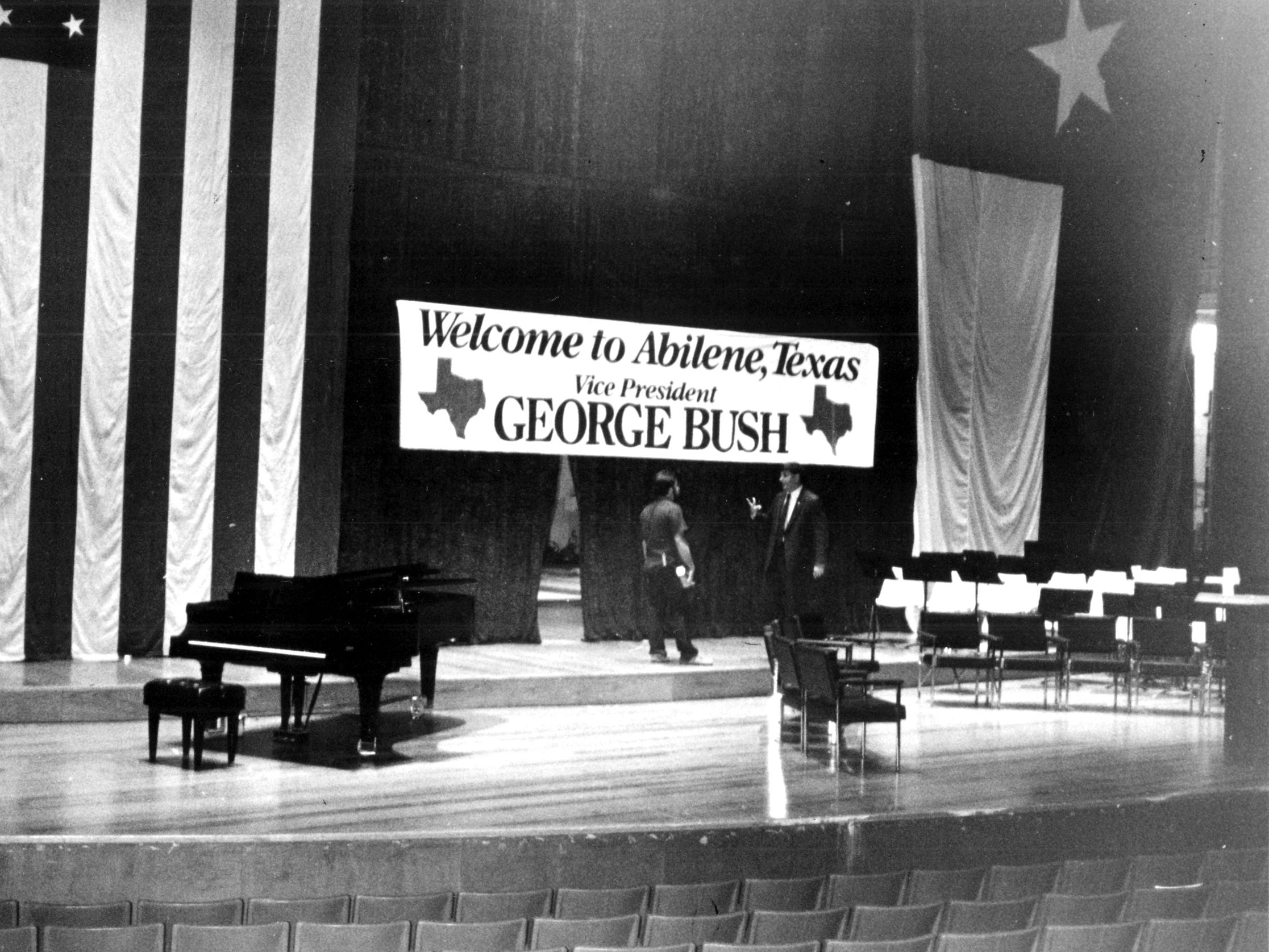 The stage setup at the Abilene Civic Center in July 1984 during the re-election campaign for the Reagan-Bush Administration.
