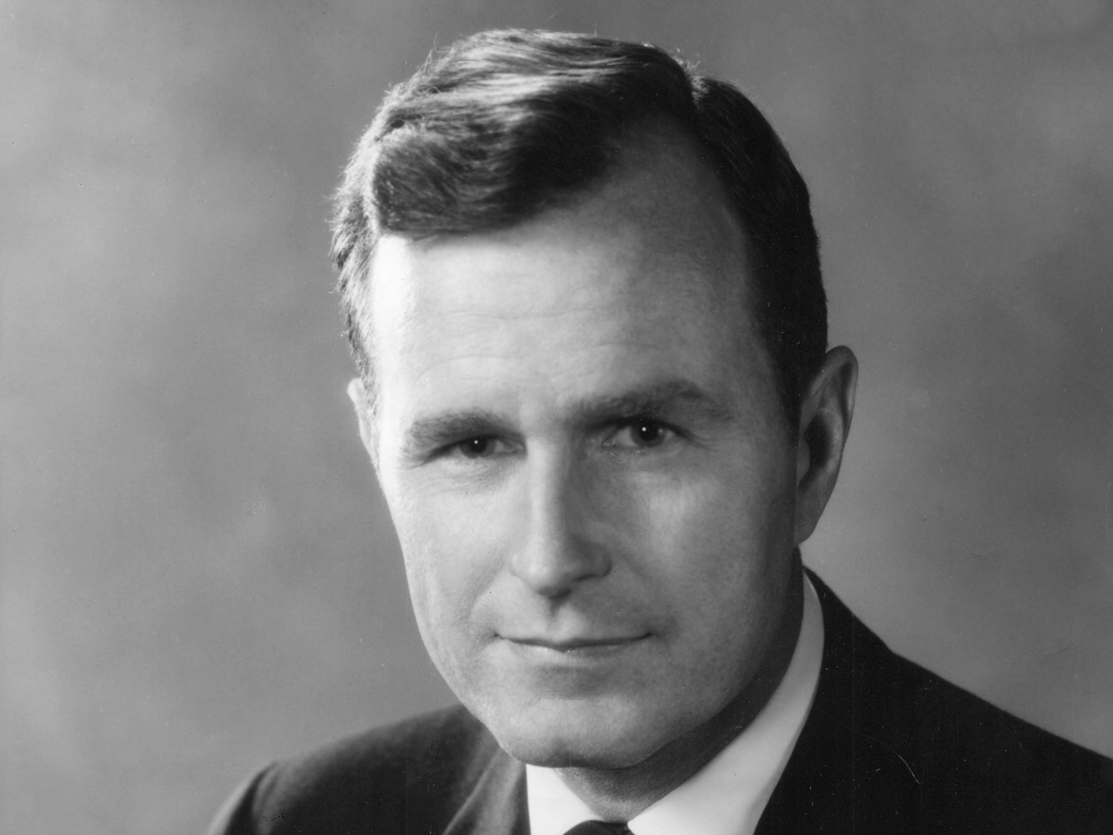 A handout photograph of an early portrait of George H. W. Bush.