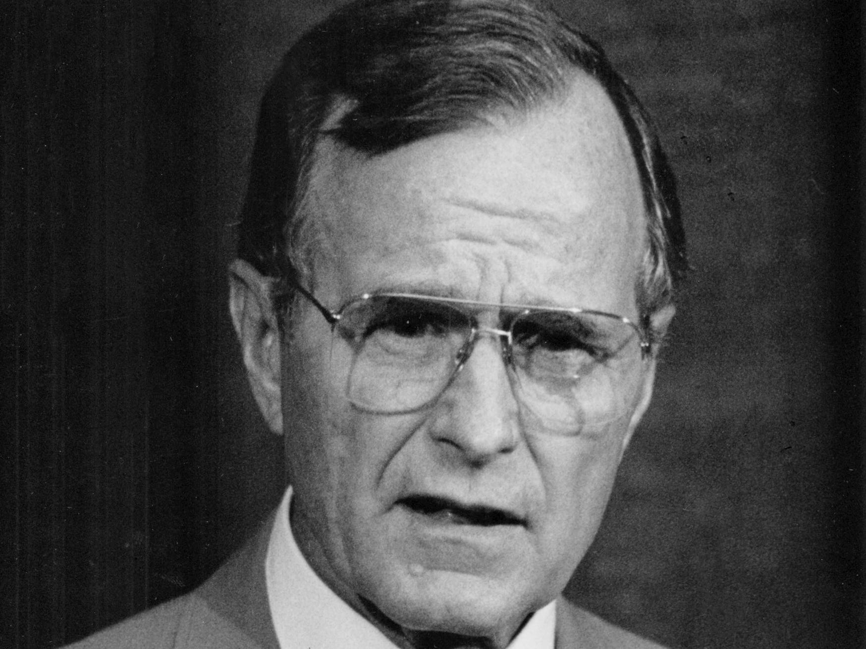 George H.W. Bush campaigning for a second term as Vice President in July 1984 at the Abilene Civic Center.