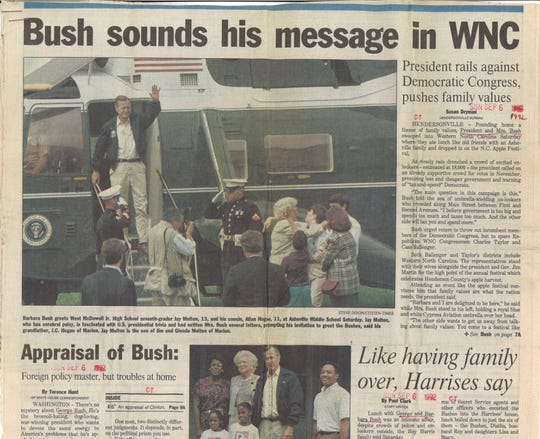 From the Archives: The Citizen Times' front page on Sunday, Sept. 6, 1992 following a visit from then sitting President George H.W. Bush.