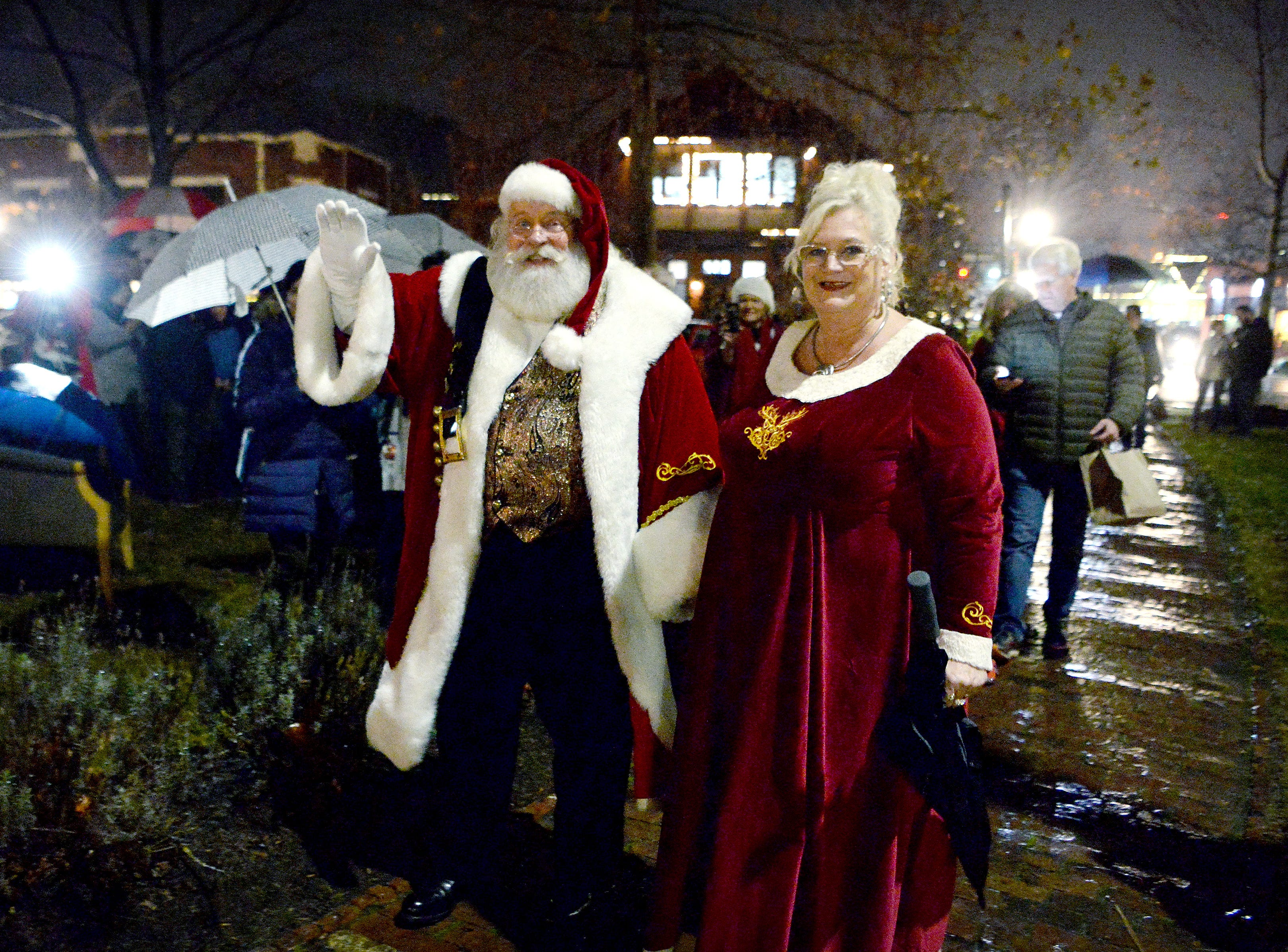 Santa and Mrs. Claus arrive at the 30th annual Biltmore Village Dickens Festival for the tree lighting on Nov. 30, 2018.