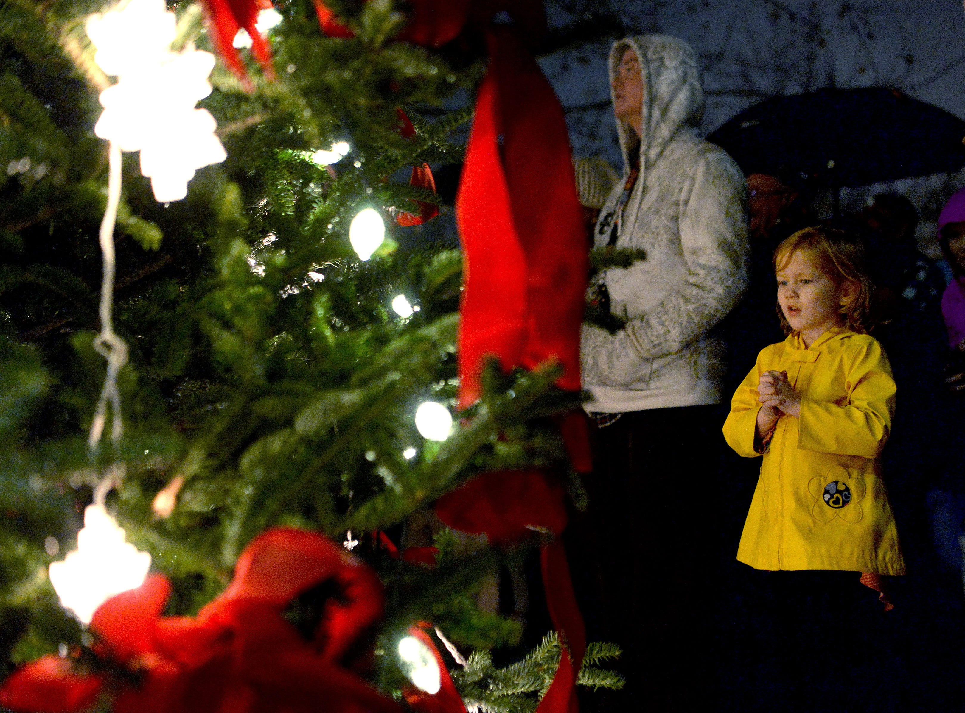 Laney Frady, 5, takes in the Christmas tree in Biltmore Village as the lights are lit during the 30th annual BIltmore Village Dickens Festival on Nov. 30, 2018.