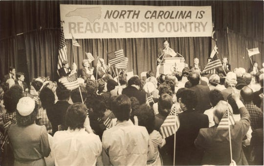 George Bush speaks to a crowd in Asheville in March of 1984.