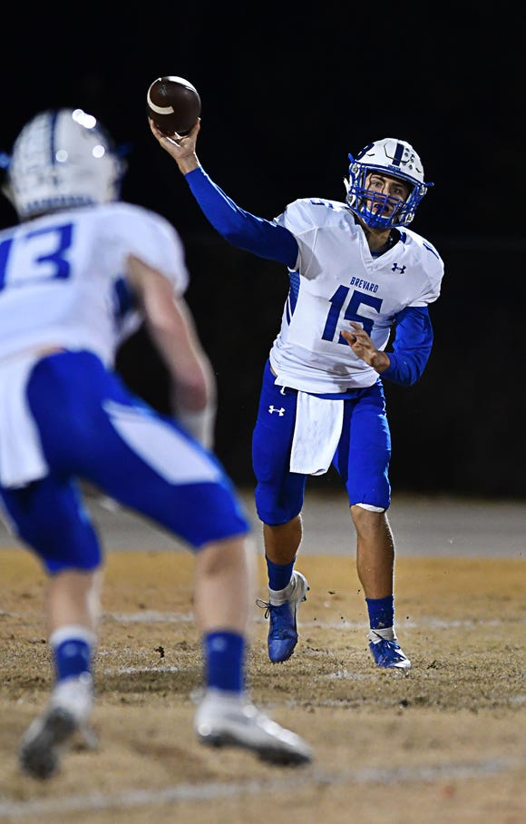 Brevard's Mitchell Johnson looks for a receiver against Wheatmore.