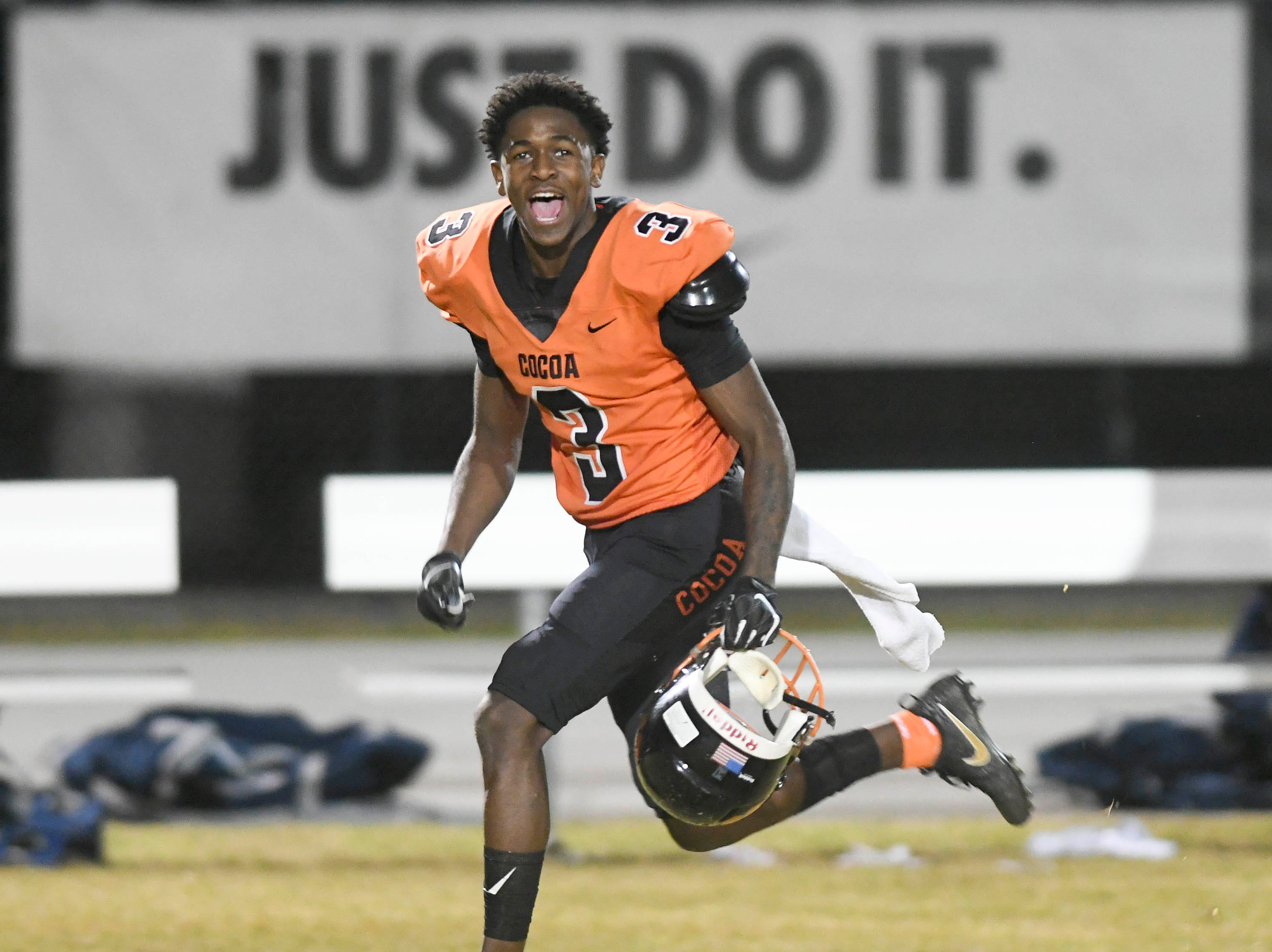 Latrell Pace of Cocoa celebrates after the Tigers defeat University 32-31 in Friday's Class 4A state semifinal.