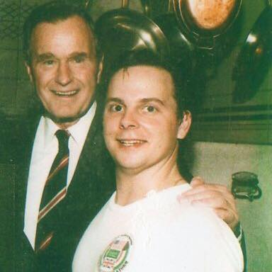 President George Bush with Glenn Gilbert in early 1990 at Club Colette in Palm Beach. Glenn now is executive chef at Hilton Cocoa Beach Oceanfront.