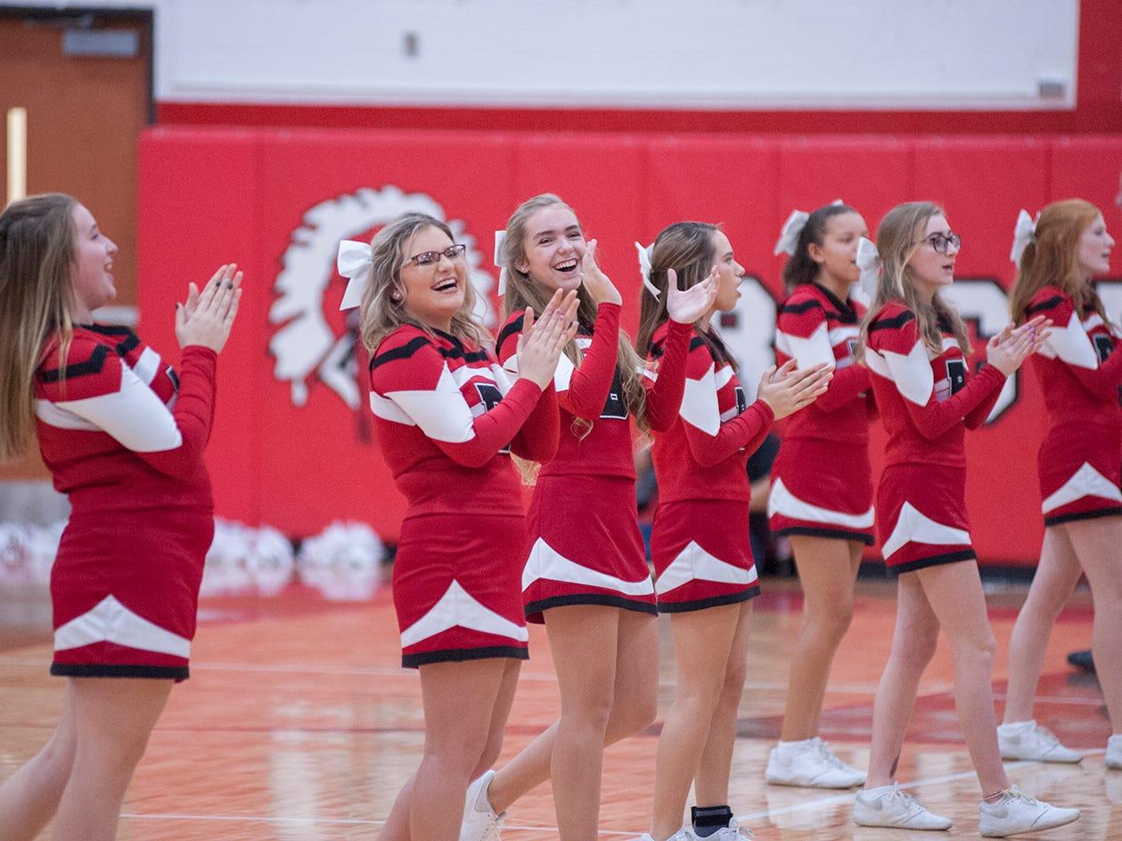 Bucyrus' cheerleaders cheer on the team against Galion.