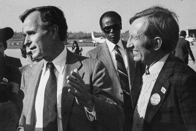 Rep.  James Jeffords with Vice President George Bush  in 1980 in Burlington.
