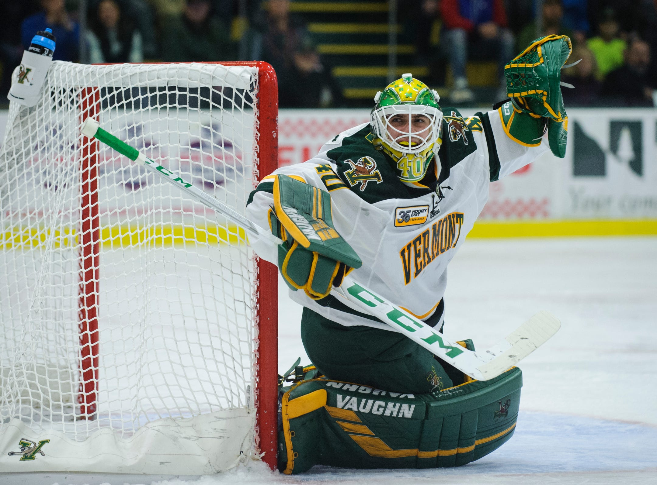 Vermont goalie Stefanos Lekkas (40) in action during the men's hockey game between the Mine Black Bears and the Vermont Catamounts at Gutterson Field House on Friday night November 30, 2018 in Burlington.