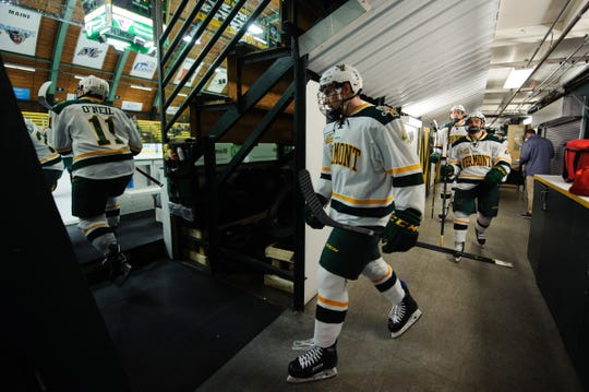 Vermont takes the ice during the men's hockey game between the Mine Black Bears and the Vermont Catamounts at Gutterson Field House on Friday night November 30, 2018 in Burlington.