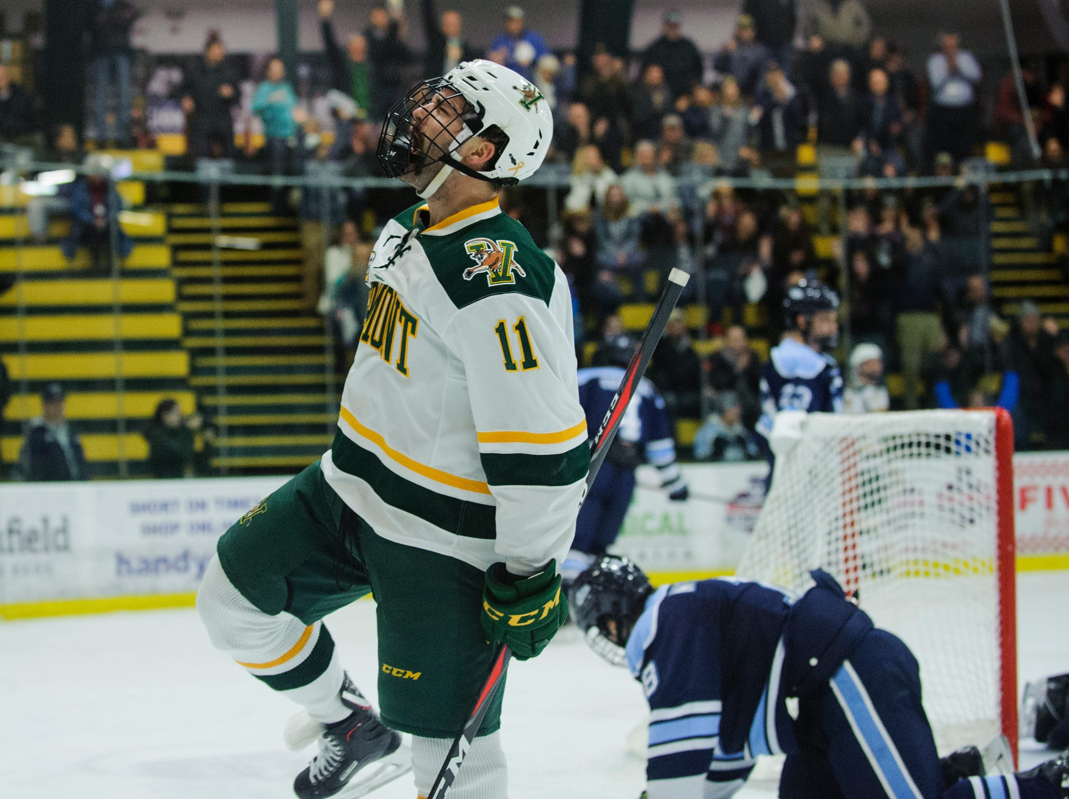 Vermont forward Conor O'Neil (11) celebrates a goal during the men's hockey game between the Mine Black Bears and the Vermont Catamounts at Gutterson Field House on Friday night November 30, 2018 in Burlington.