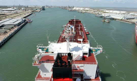 FILE- In this undated file photo the M/V Pennsylvania tanker pulls into the Port of Corpus Christi. Crude oil exports from the Port of Corpus Christi are soaring. (Corpus Christi Caller-Times via AP, File)