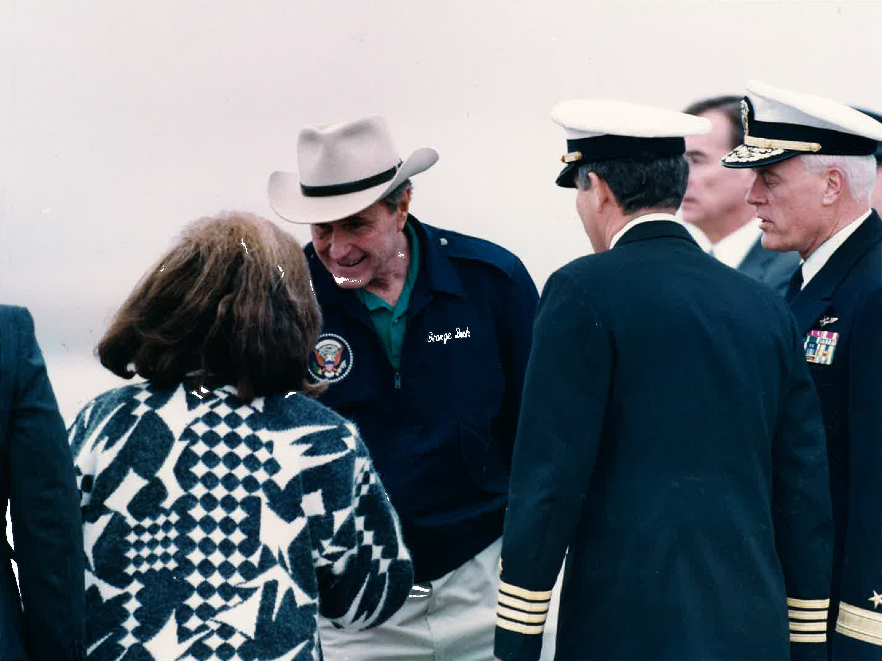 President George H.W. Bush greets Corpus Christi Mayor Mary Rhodes at Naval Air Station Corpus Christi in December 1992.