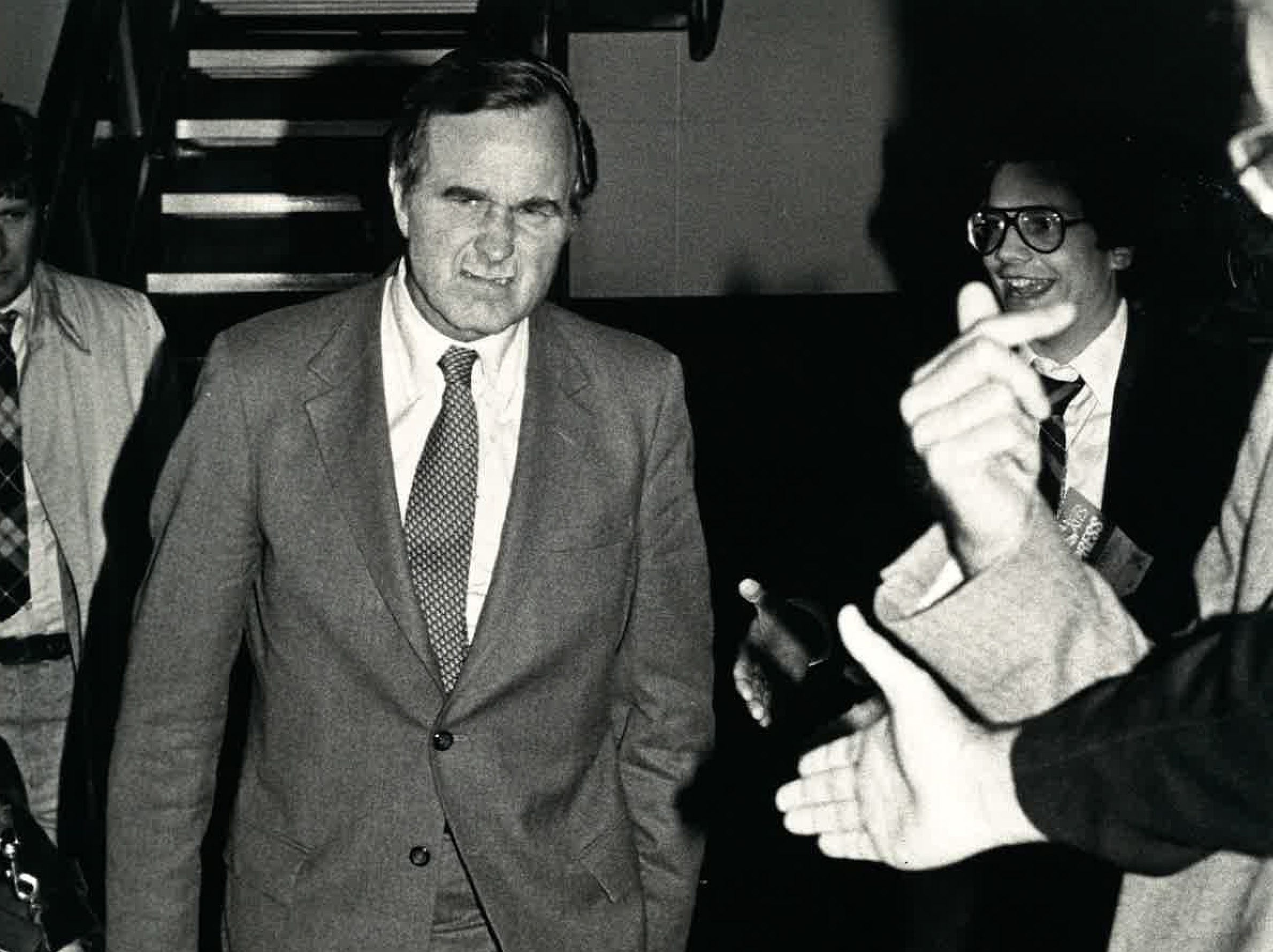 Vice President George H.W. Bush puts on his best surly face while campaigning for Ronald Reagan in a campaign stop in Corpus Christi in October 1980.