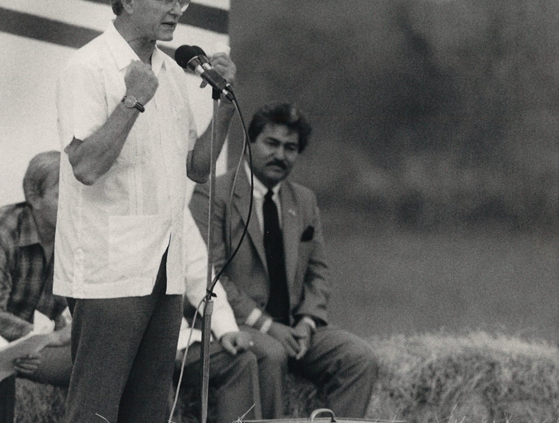 Vice president George Bush speaks to a crowd in South Texas at the Salinas Ranch in Hebbronville, Texas on Sept. 14, 1985.