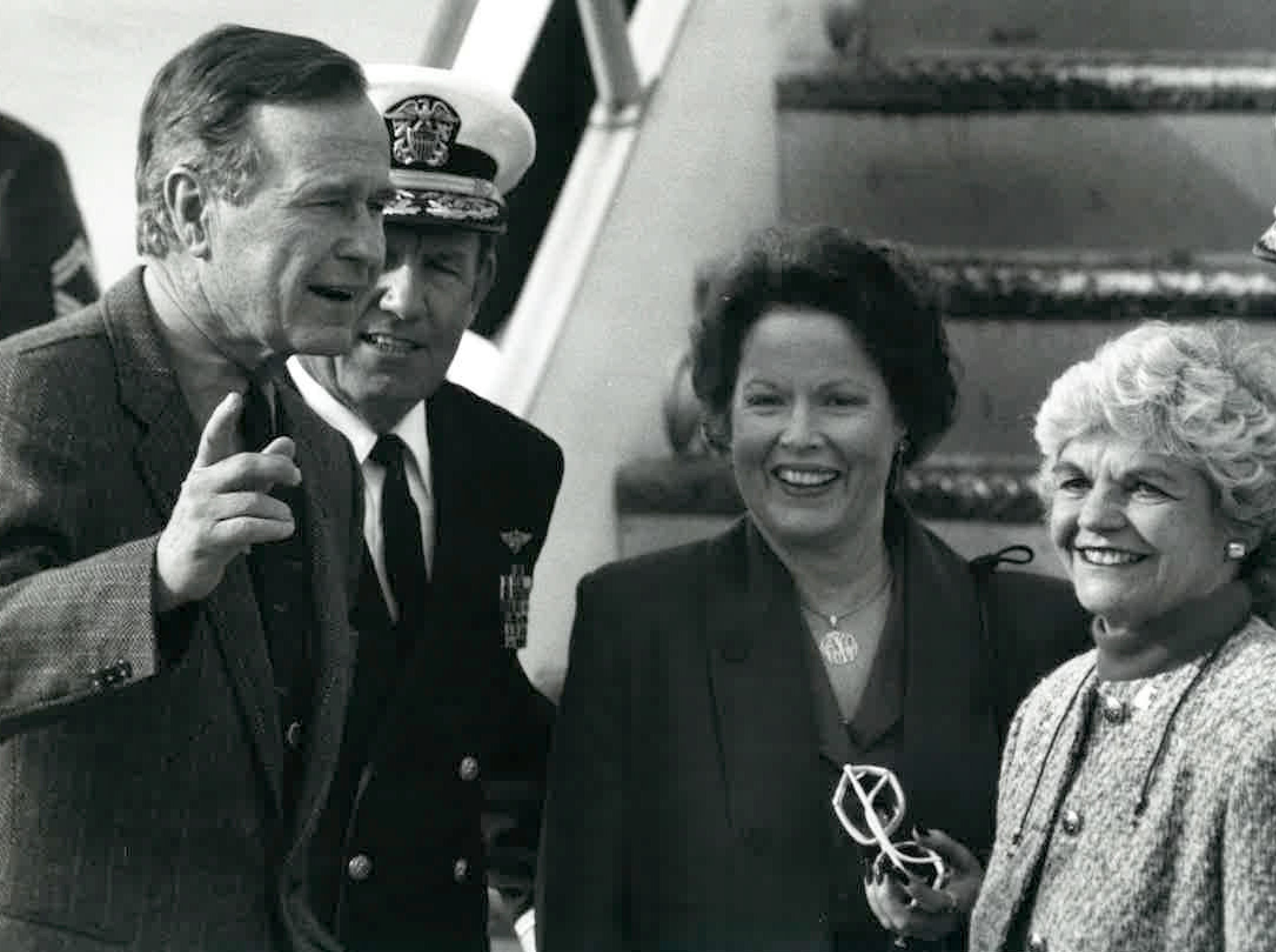 President George H.W. Bush (from left), Rear Admiral Jimmie Taylor, wife Annette Taylor and Corpus Christi Mayor Betty Turner in December 1989. Turner and the Taylors greeted the president as he arrived at Naval Air Station Corpus Christi for a local fishing trip, then a quail hunting trip near Beeville.