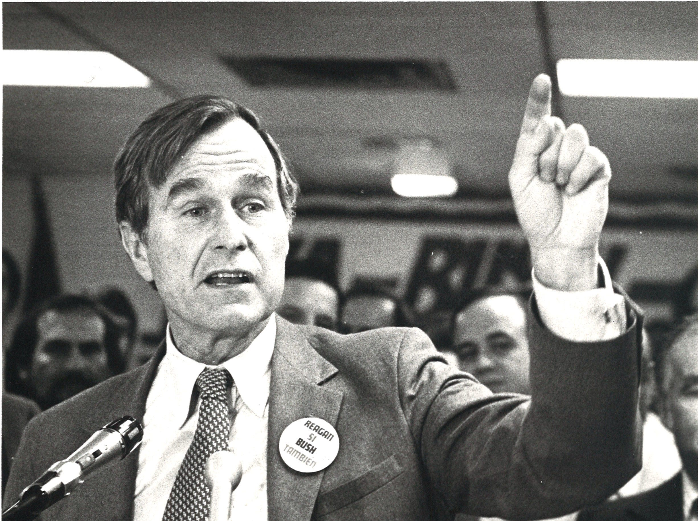 George Bush speaks at a press conference at Corpus Christi International Airport on Oct. 29, 1980.