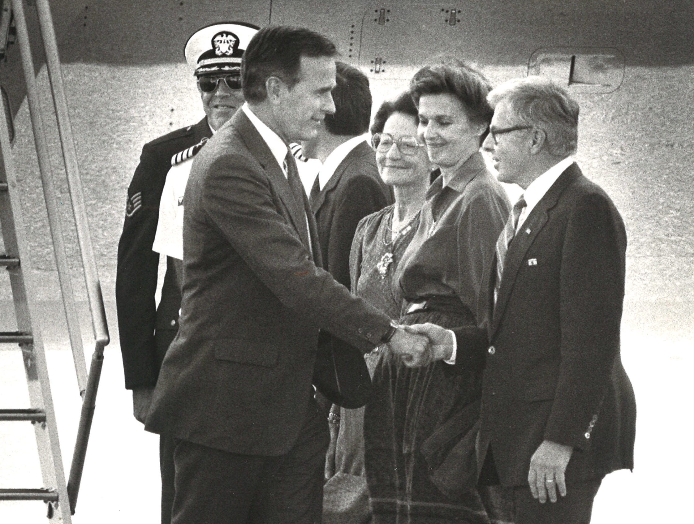 Vice president George Bush at Naval Air Station Corpus Christi on Oct. 28, 1983.