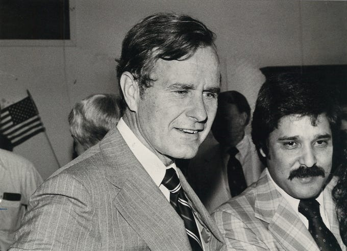 George Bush was in Corpus Christi on June 7, 1978 on a fundraising swing through Texas. Bush was recently retired as the director of the CIA and was fundraising for Republicans across the state. Alfredo Cardenas (right) stands next to him.